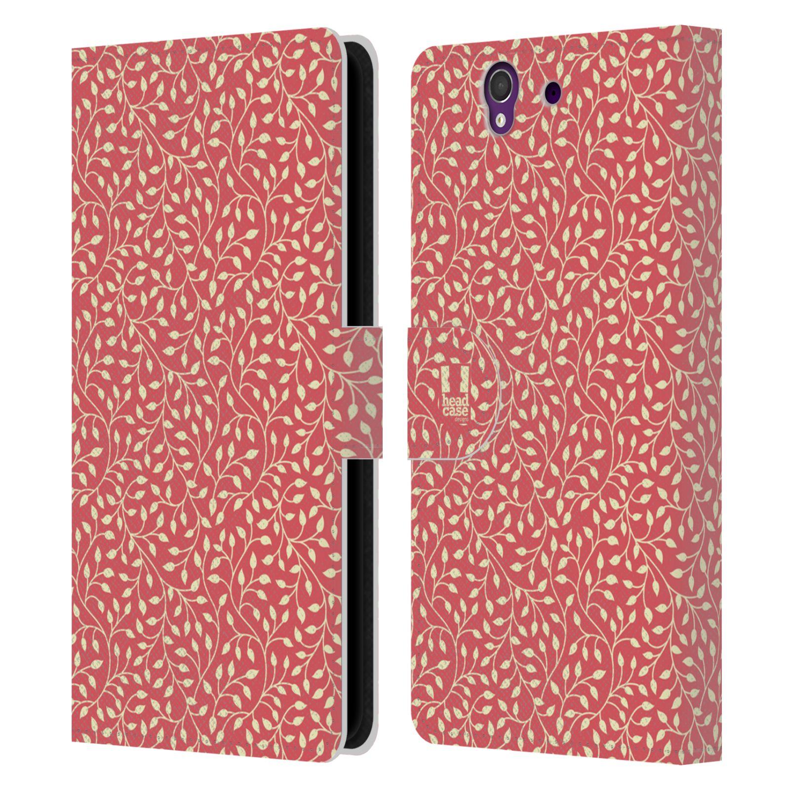 HEAD CASE Flipové pouzdro pro mobil SONY XPERIA Z (C6603) vzory listy červená