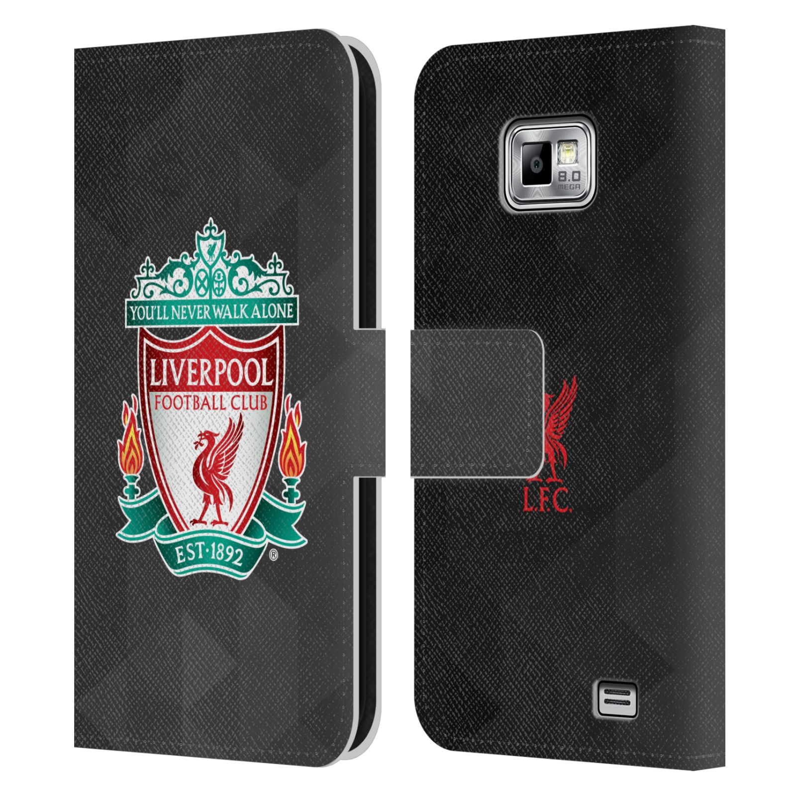 HEAD CASE Flipové pouzdro pro mobil Samsung Galaxy S2 i9100 LIVERPOOL FC OFICIÁLNÍ ZNAK kostky barevný znak na černé