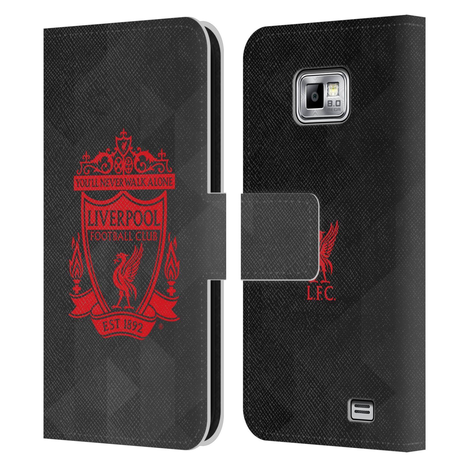 HEAD CASE Flipové pouzdro pro mobil Samsung Galaxy S2 i9100 LIVERPOOL FC OFICIÁLNÍ ZNAK kostky červený znak na černé