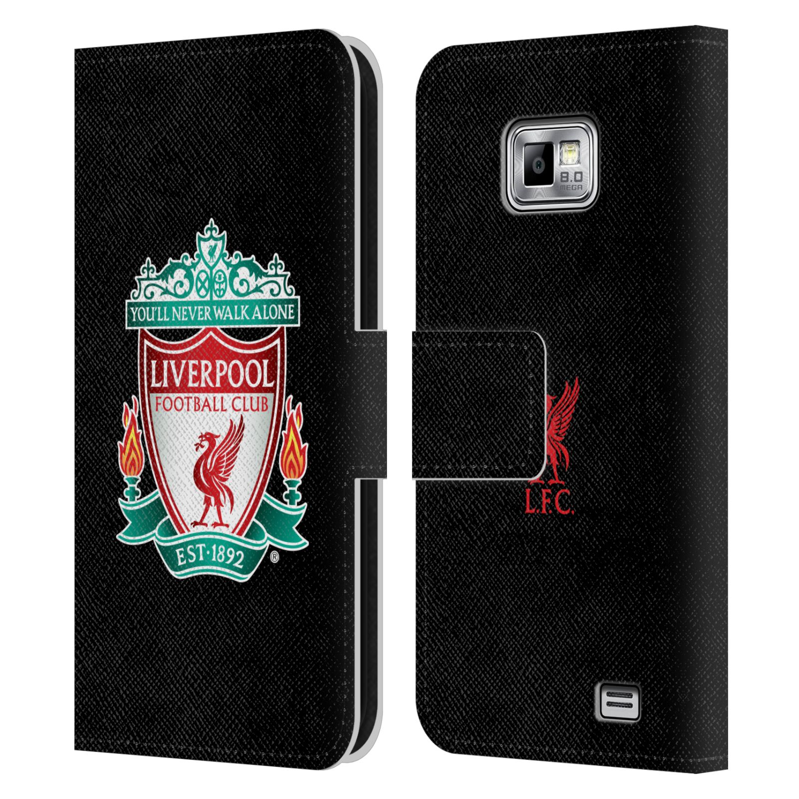 HEAD CASE Flipové pouzdro pro mobil Samsung Galaxy S2 i9100 LIVERPOOL FC OFICIÁLNÍ ZNAK barevný znak na černé