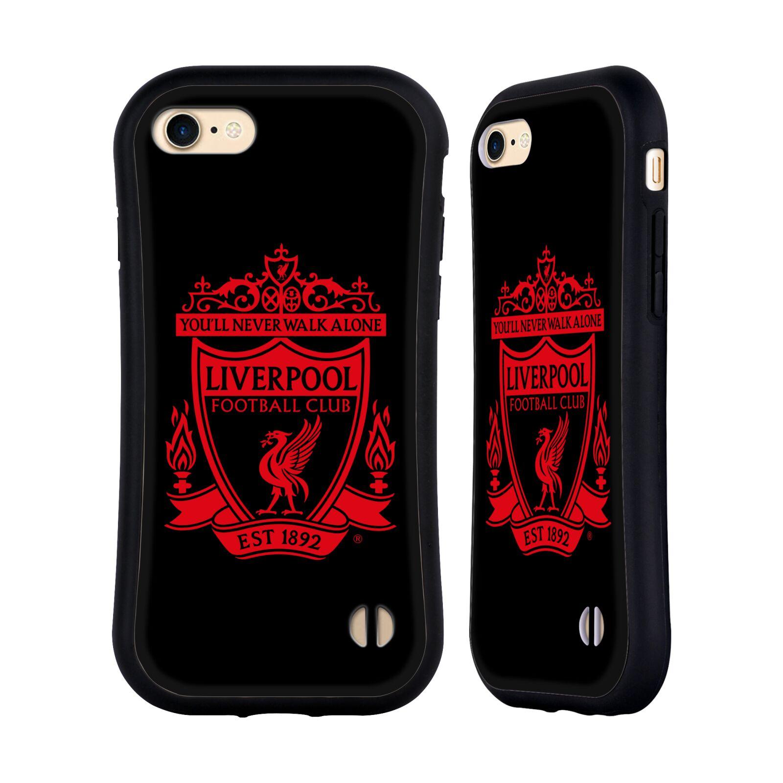 HEAD CASE odolný obal na mobil Apple Iphone 8 Fotbalový klub Liverpool rudý znak černé pozadí