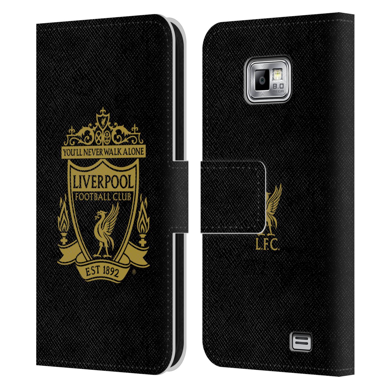 HEAD CASE Flipové pouzdro pro mobil Samsung Galaxy S2 i9100 LIVERPOOL FC OFICIÁLNÍ ZNAK zlatý znak na černé