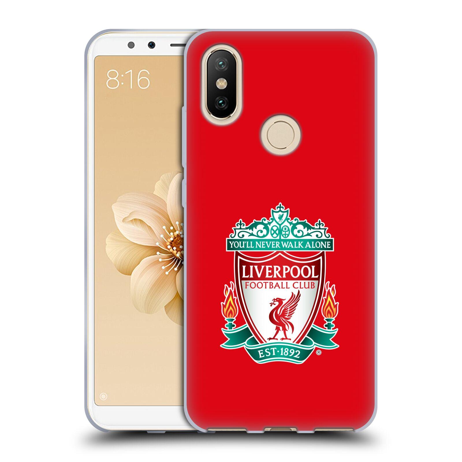Silikonové pouzdro na mobil Xiaomi Mi A2 Fotbalový klub Liverpool barevný znak červené pozadí