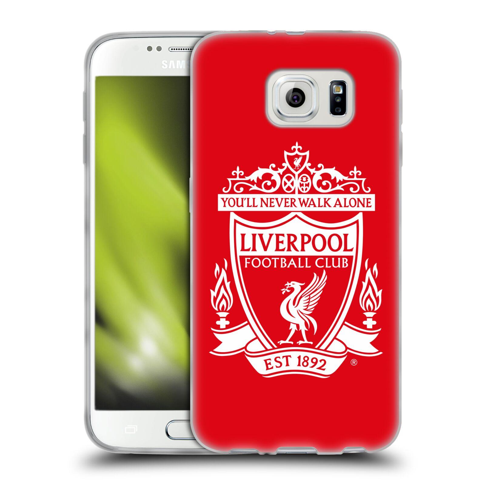HEAD CASE silikonový obal na mobil Samsung Galaxy S6 Fotbalový klub Liverpool bílý znak červené pozadí