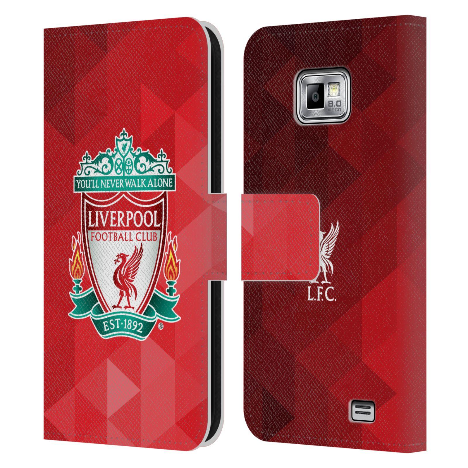 HEAD CASE Flipové pouzdro pro mobil Samsung Galaxy S2 i9100 LIVERPOOL FC OFICIÁLNÍ ZNAK kostky barevný znak na červené