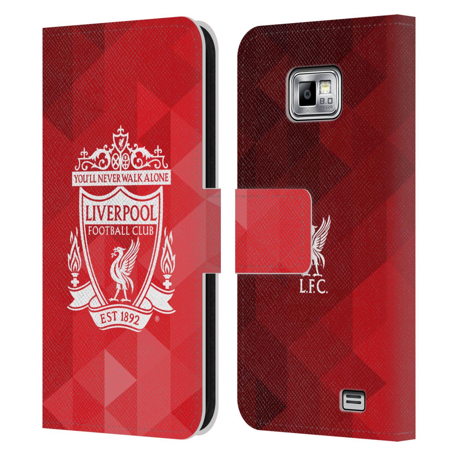 HEAD CASE Flipové pouzdro pro mobil Samsung Galaxy S2 i9100 LIVERPOOL FC OFICIÁLNÍ ZNAK kostky bílý znak na červené