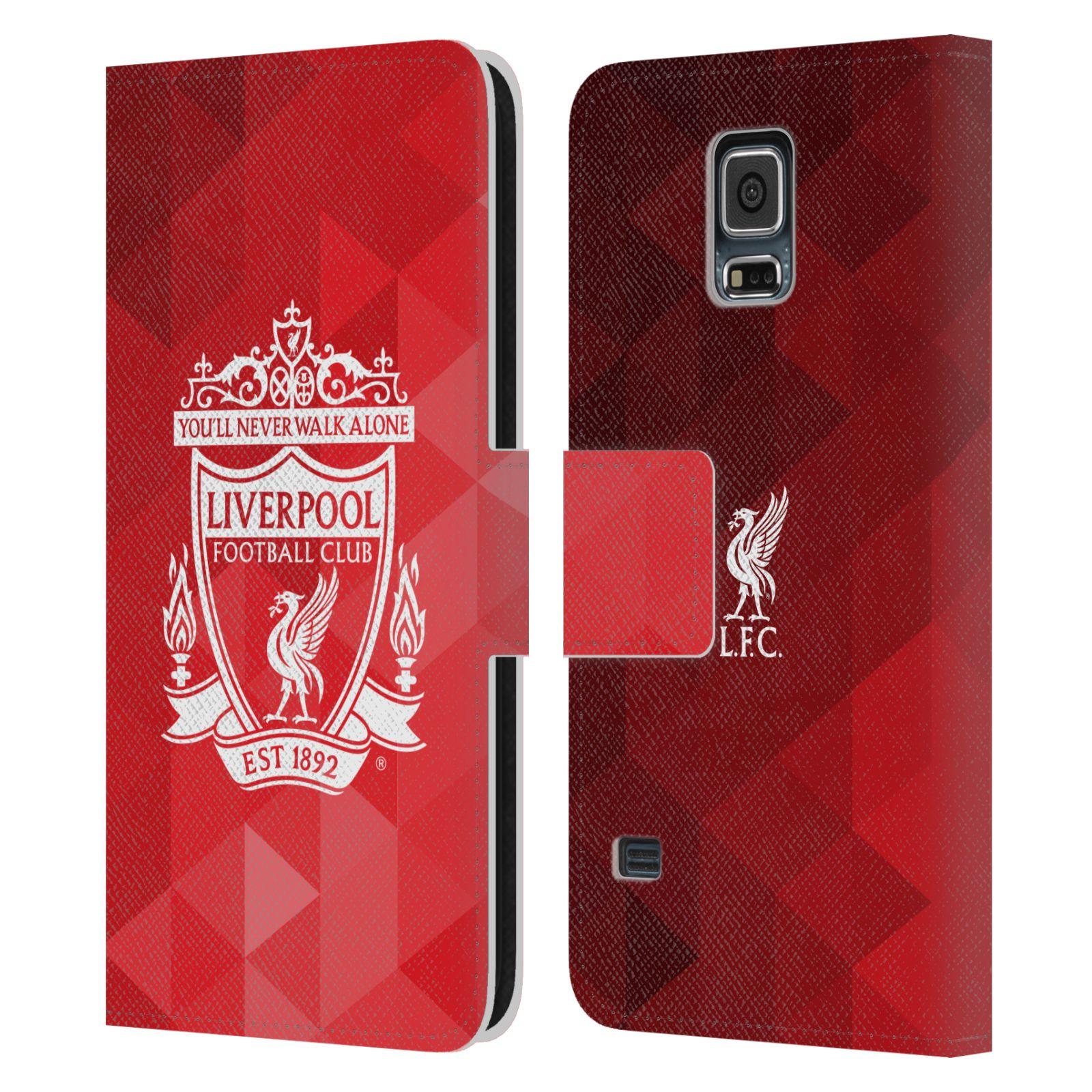HEAD CASE Flipové pouzdro pro mobil Samsung Galaxy S5 / S5 NEO LIVERPOOL FC OFICIÁLNÍ ZNAK kostky bílý znak na červené