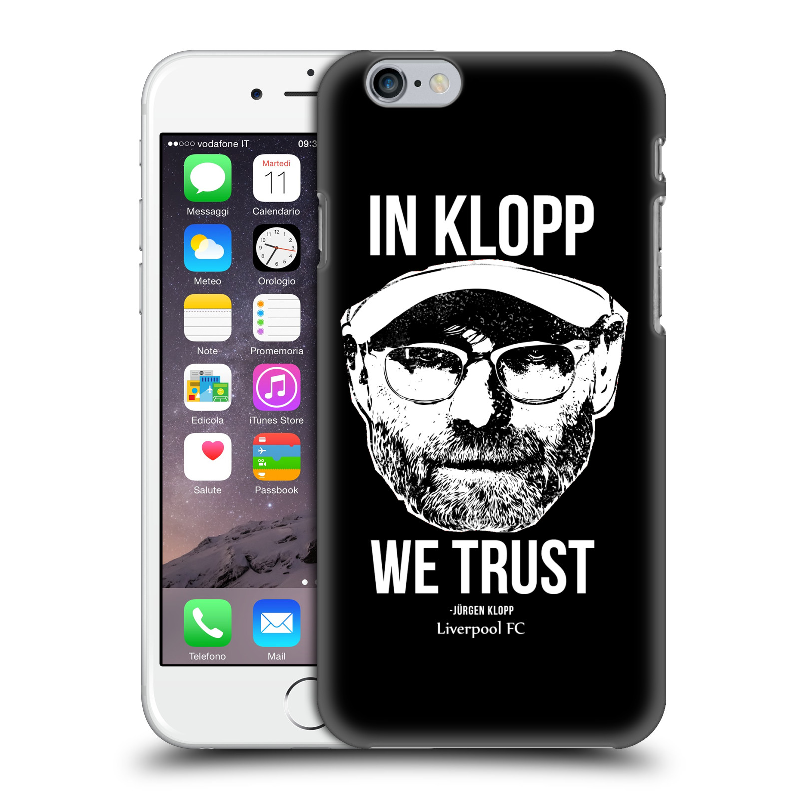 Liverpool FC LFC Jurgen Klopp Illustrations-Full Face Black