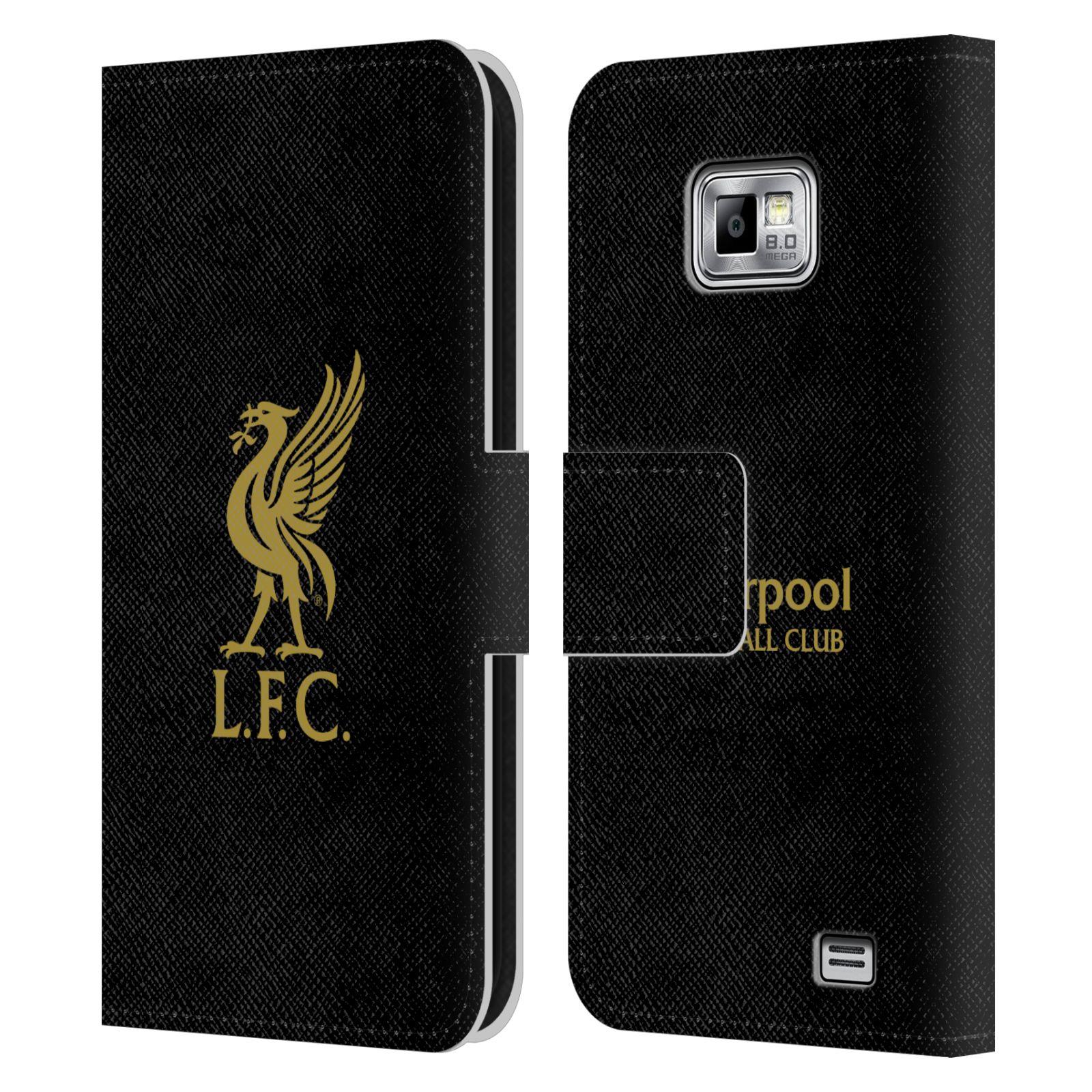HEAD CASE Flipové pouzdro pro mobil Samsung Galaxy S2 i9100 LIVERPOOL FC OFICIÁLNÍ ZNAK zlatá na černé