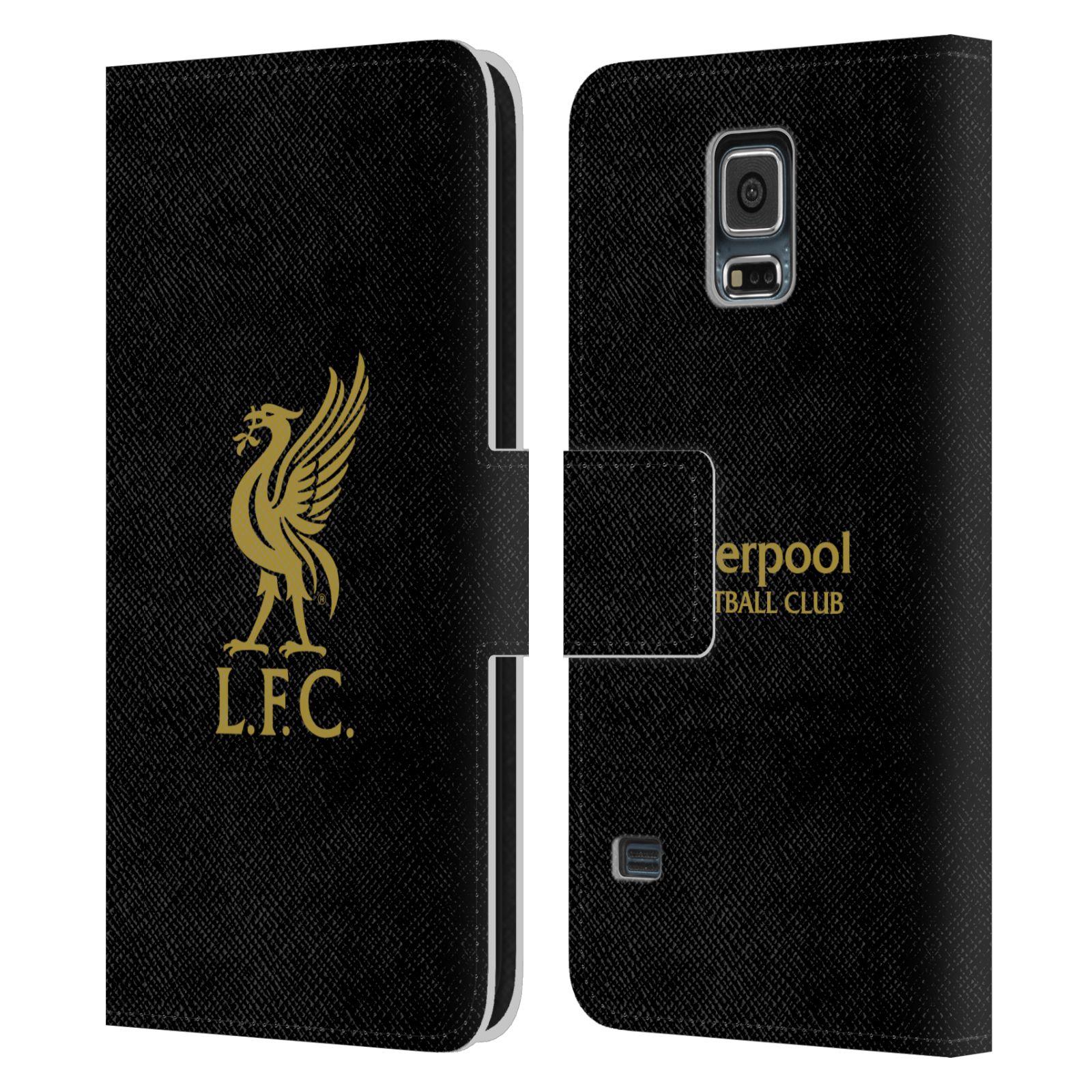 HEAD CASE Flipové pouzdro pro mobil Samsung Galaxy S5 / S5 NEO LIVERPOOL FC OFICIÁLNÍ ZNAK zlatá na černé