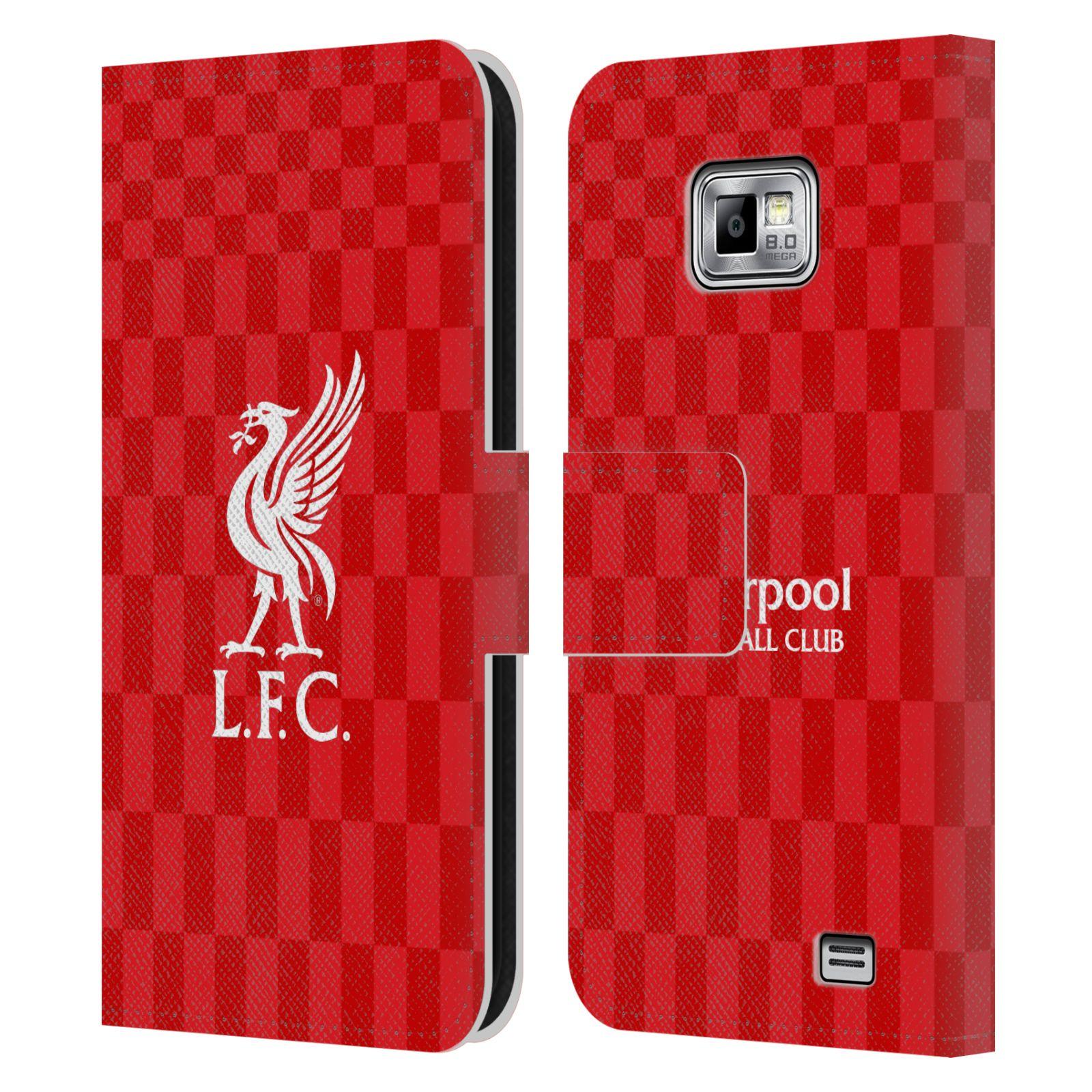 HEAD CASE Flipové pouzdro pro mobil Samsung Galaxy S2 i9100 LIVERPOOL FC OFICIÁLNÍ ZNAK kostky dres bílá na červené