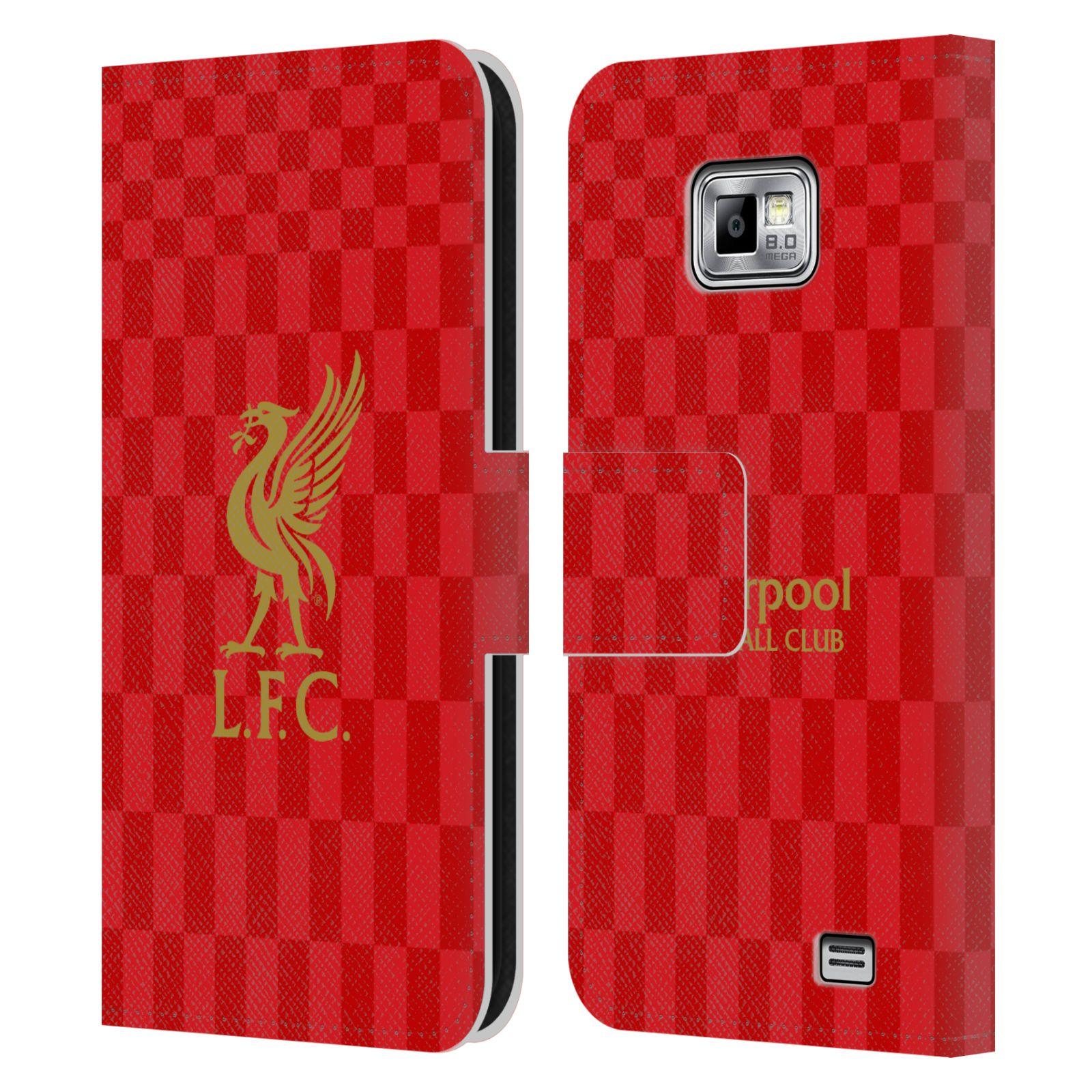 HEAD CASE Flipové pouzdro pro mobil Samsung Galaxy S2 i9100 LIVERPOOL FC OFICIÁLNÍ ZNAK kostky dres zlatá na červené
