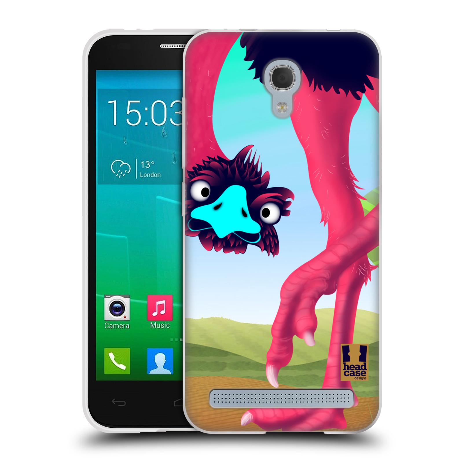 HEAD CASE silikonový obal na mobil Alcatel Idol 2 MINI S 6036Y vzor dlouhé nohy kreslená zvířátka pštros