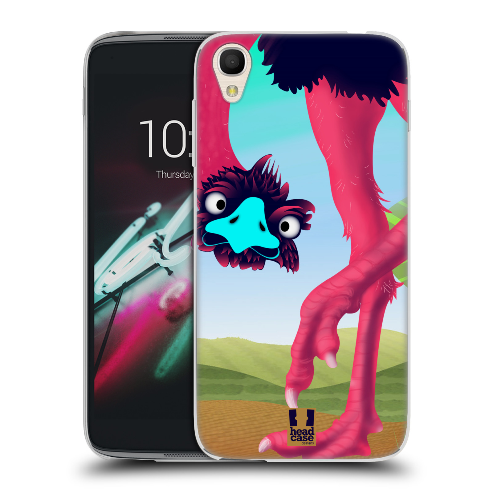 HEAD CASE silikonový obal na mobil Alcatel Idol 3 OT-6039Y (4.7) vzor dlouhé nohy kreslená zvířátka pštros
