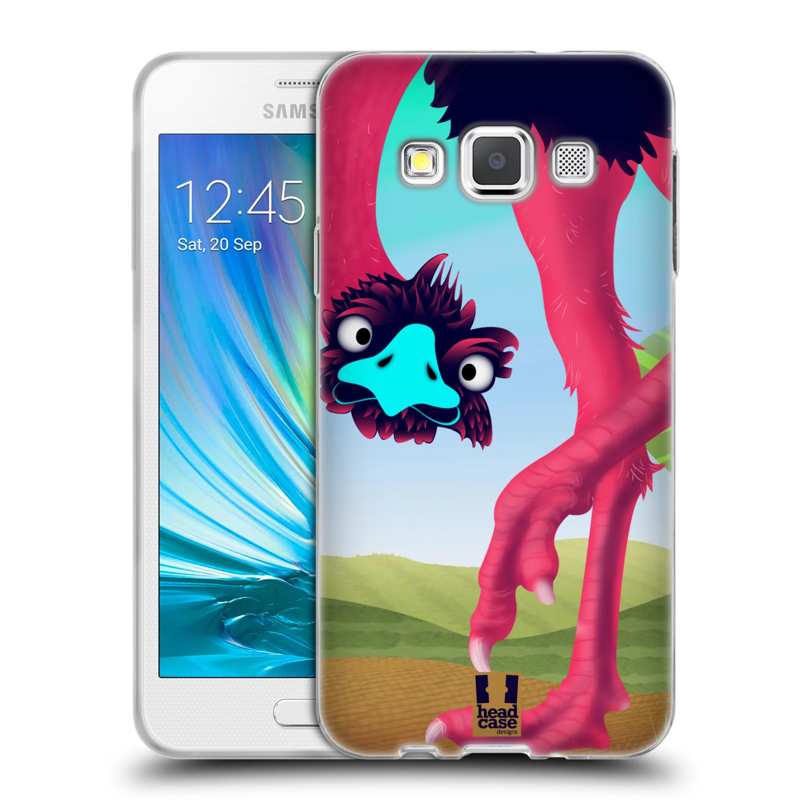 HEAD CASE silikonový obal na mobil Samsung Galaxy A3 vzor dlouhé nohy kreslená zvířátka pštros