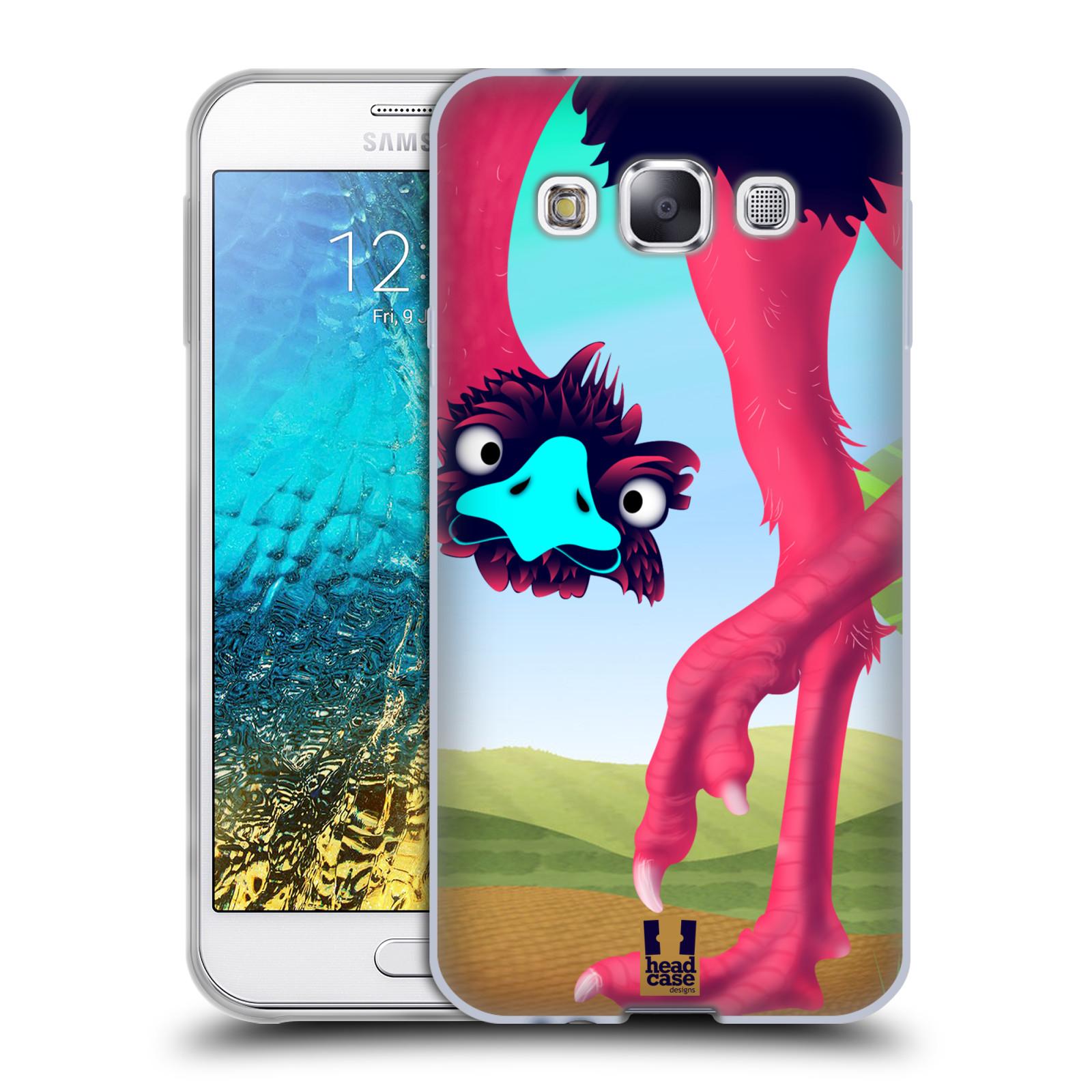 HEAD CASE silikonový obal na mobil Samsung Galaxy E5 vzor dlouhé nohy kreslená zvířátka pštros