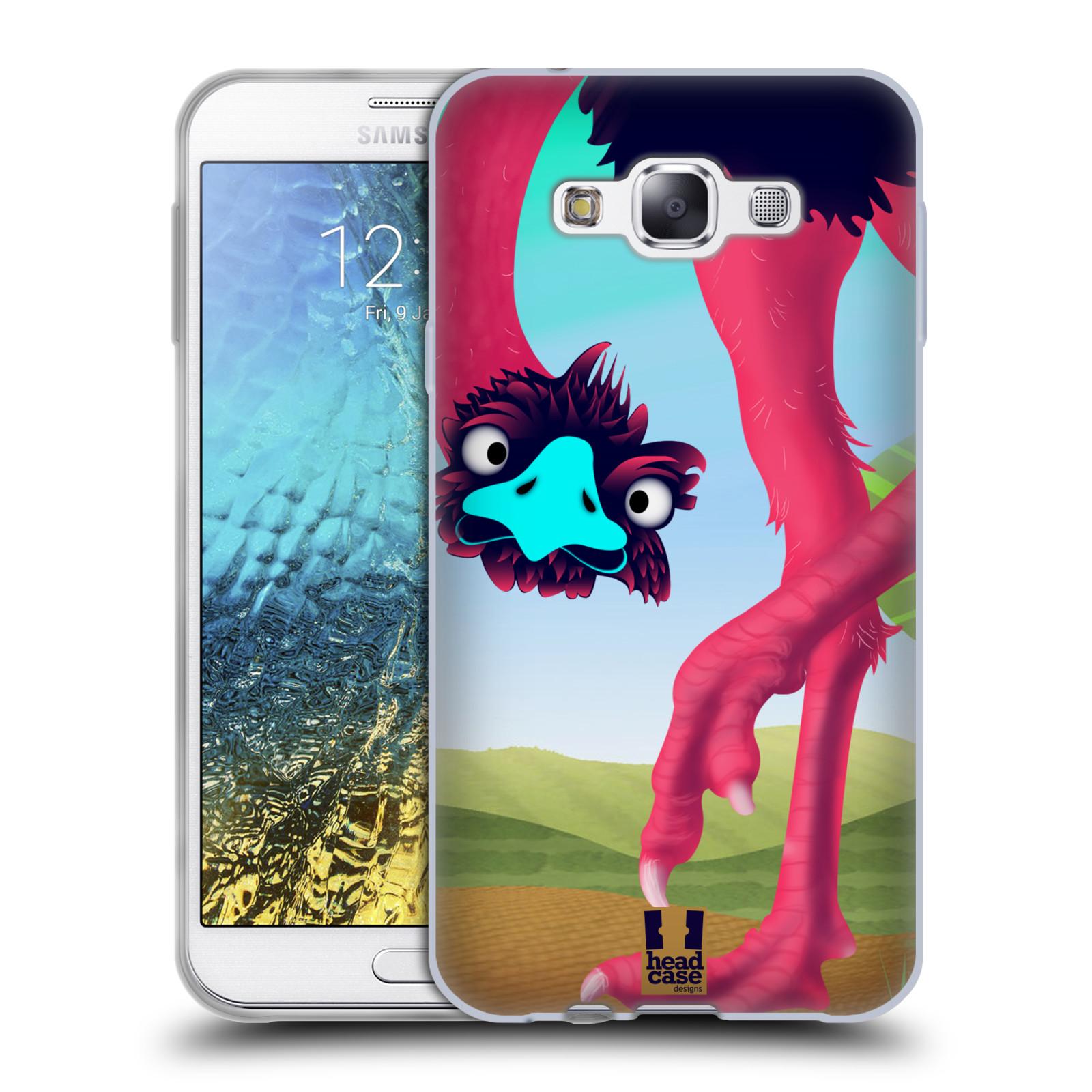 HEAD CASE silikonový obal na mobil Samsung Galaxy E7 vzor dlouhé nohy kreslená zvířátka pštros