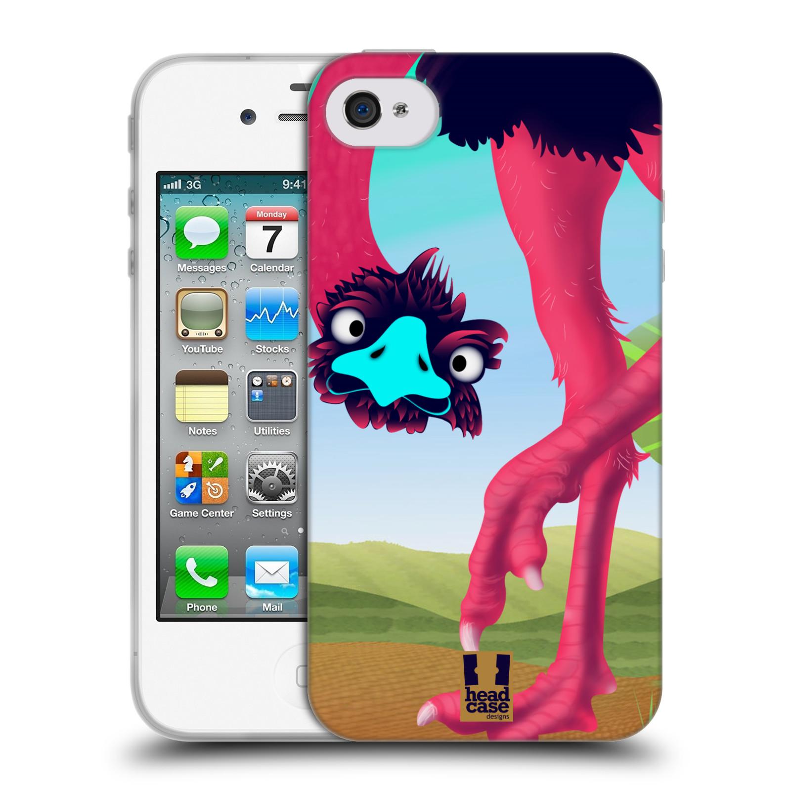 HEAD CASE silikonový obal na mobil Apple Iphone 4/4S vzor dlouhé nohy kreslená zvířátka pštros