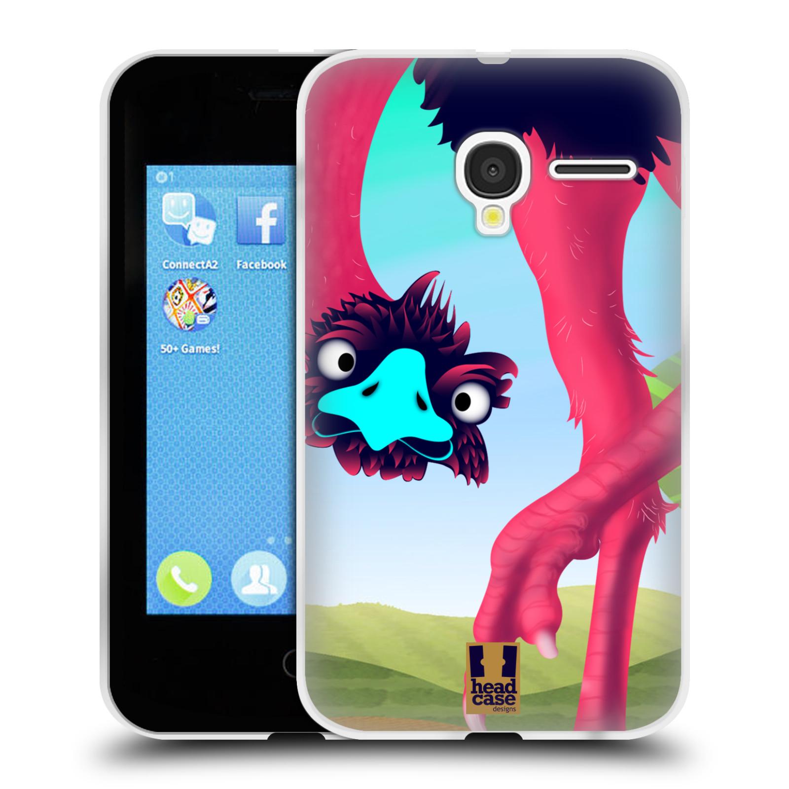 HEAD CASE silikonový obal na mobil Alcatel PIXI 3 OT-4022D (3,5 palcový displej) vzor dlouhé nohy kreslená zvířátka pštros