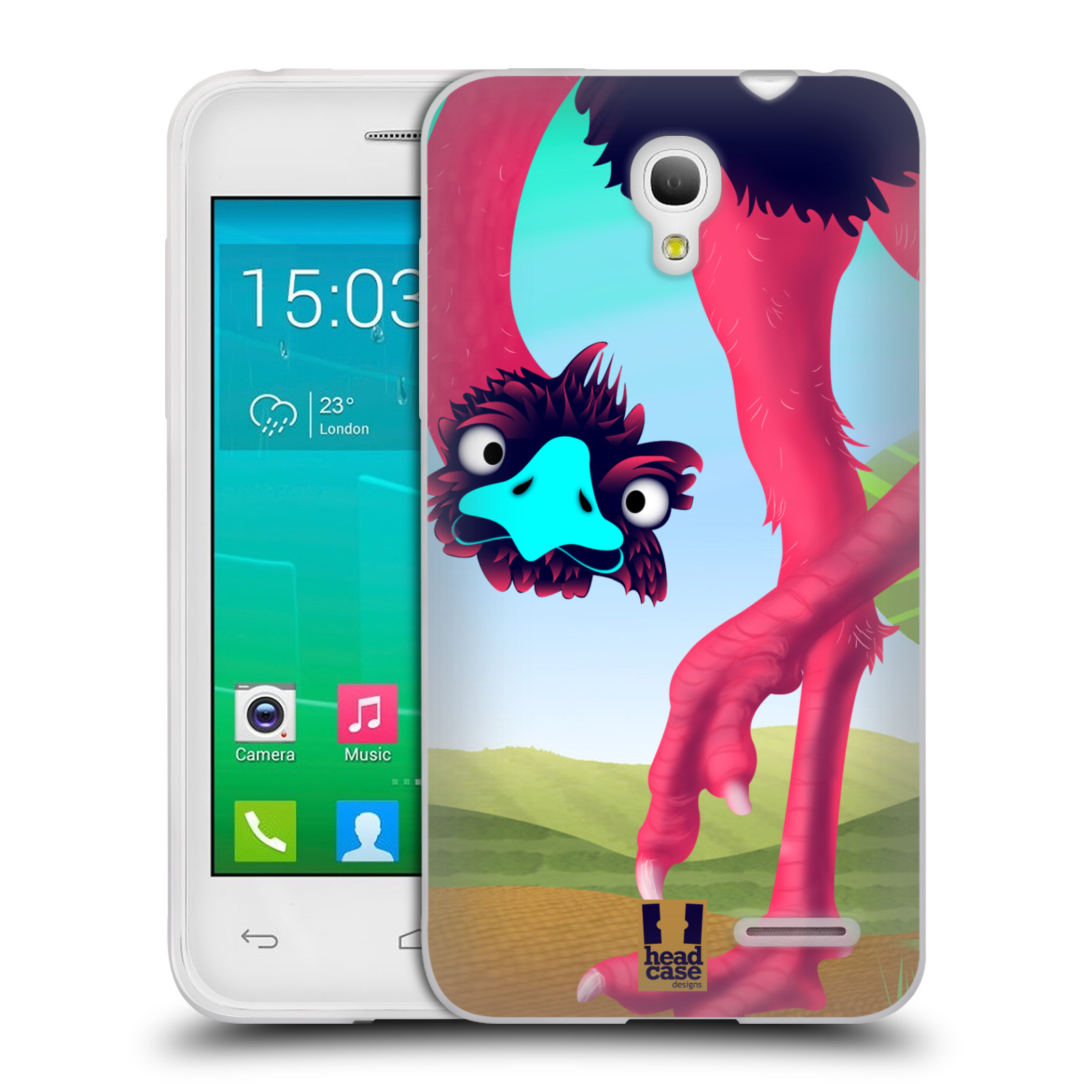 HEAD CASE silikonový obal na mobil Alcatel POP S3 OT-5050Y vzor dlouhé nohy kreslená zvířátka pštros