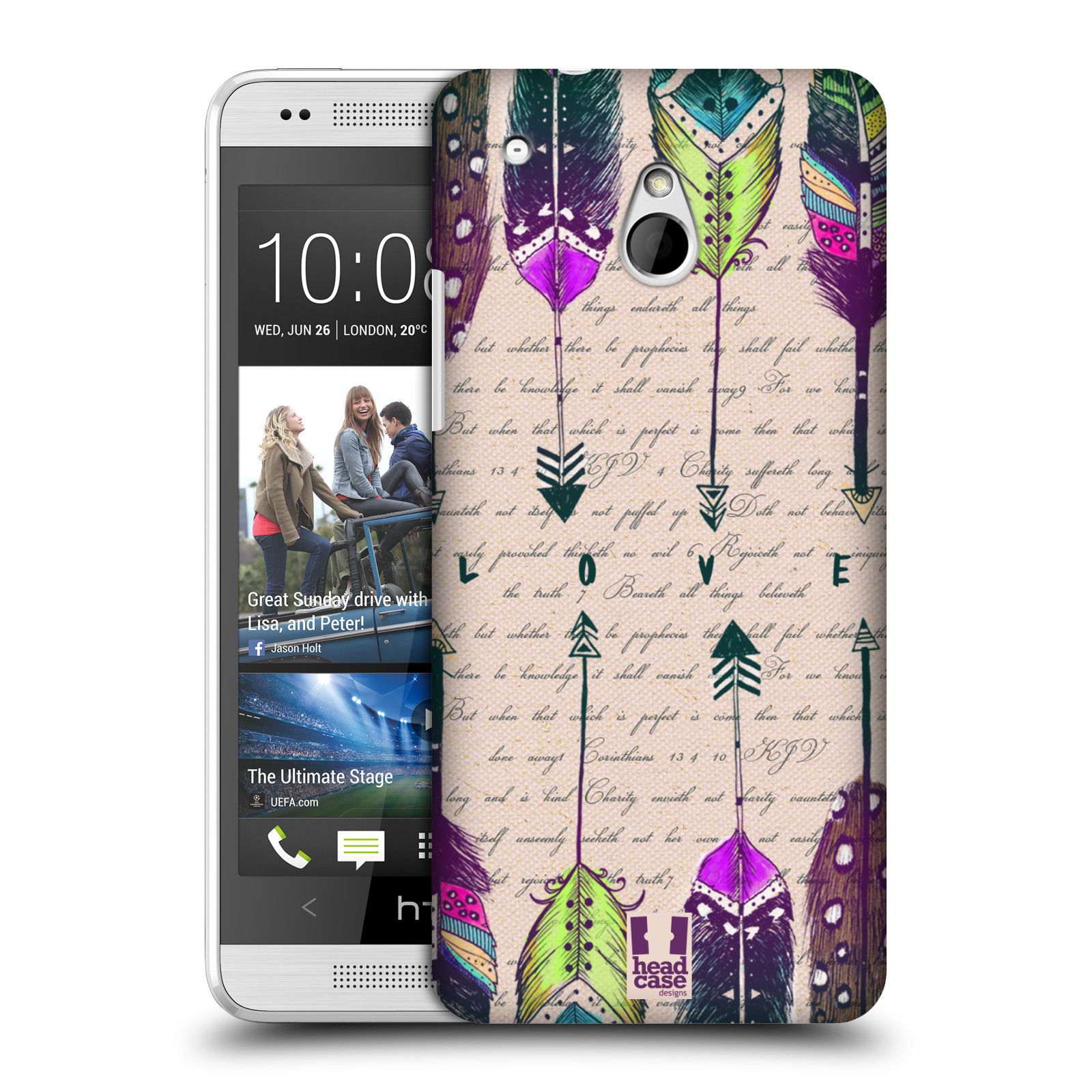 HEAD CASE DESIGNS LOVE FEATHERS CASE COVER FOR HTC ONE MINI