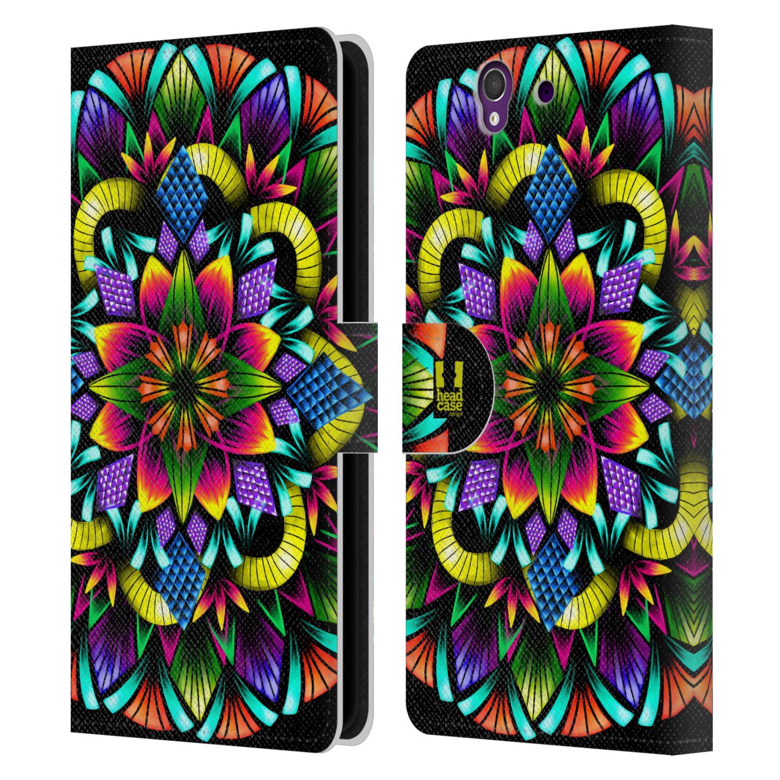 HEAD CASE Flipové pouzdro pro mobil SONY XPERIA Z (C6603) zářivá mandala kaleidoskop květina