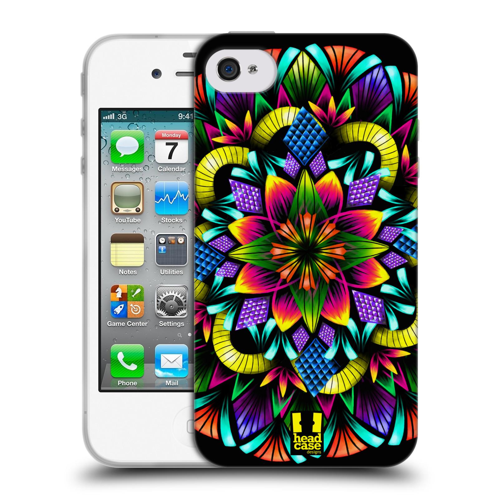 HEAD CASE silikonový obal na mobil Apple Iphone 4/4S vzor Indie Mandala kaleidoskop barevný vzor KVĚTINA