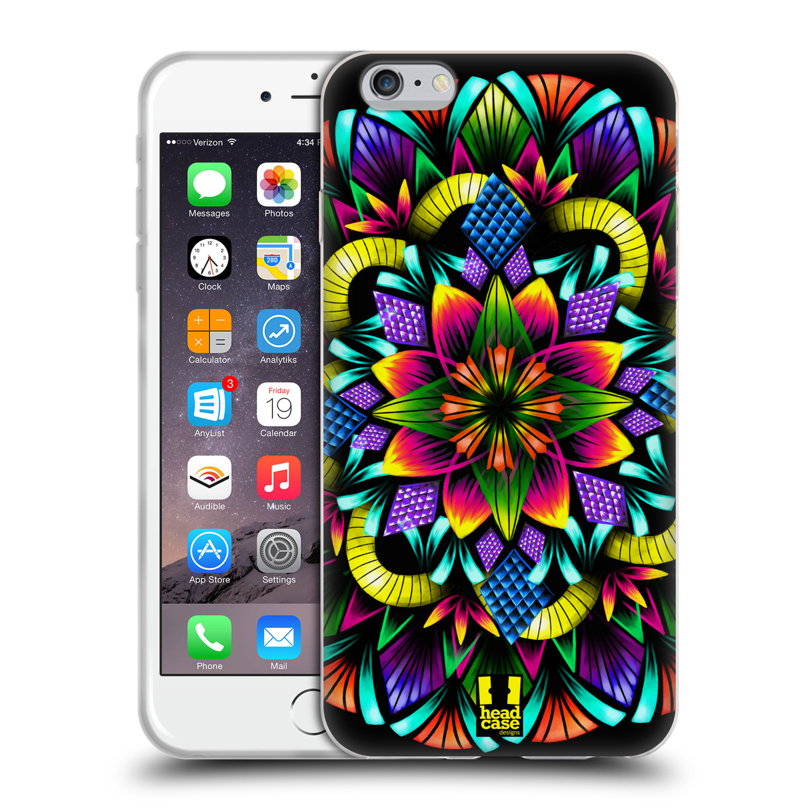 HEAD CASE silikonový obal na mobil Apple Iphone 6 PLUS/ 6S PLUS vzor Indie Mandala kaleidoskop barevný vzor KVĚTINA