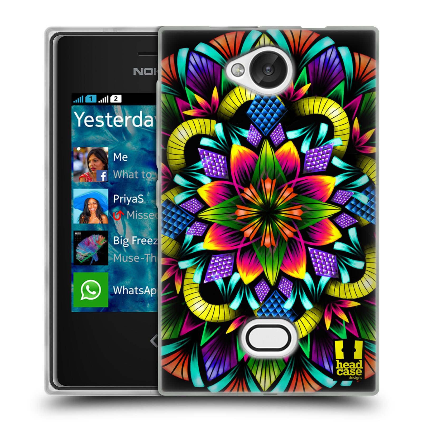 HEAD CASE silikonový obal na mobil NOKIA Asha 503 vzor Indie Mandala kaleidoskop barevný vzor KVĚTINA