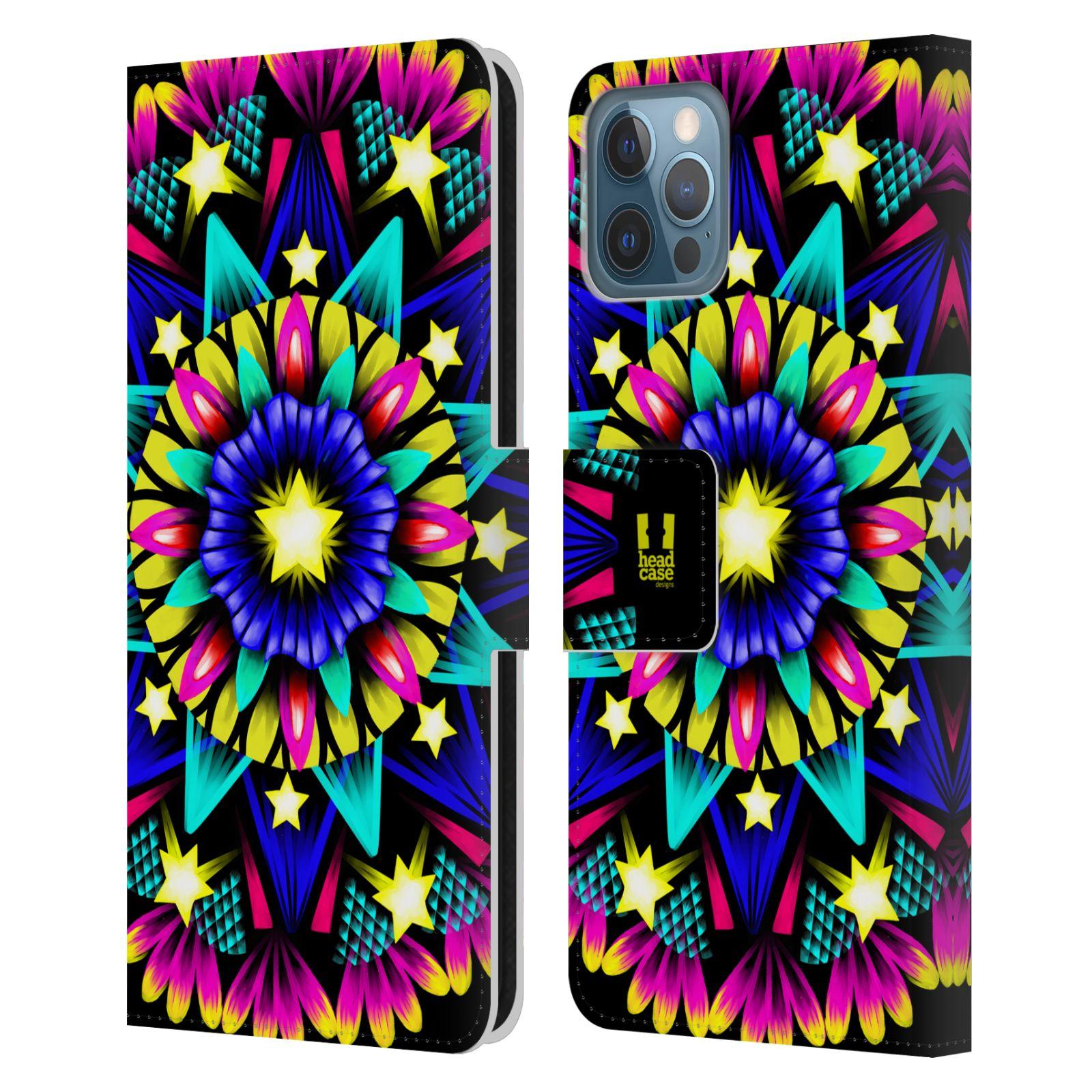 HEAD CASE Flipové pouzdro pro mobil Apple Iphone 12 / Iphone 12 PRO zářivá mandala kaleidoskop hvězda