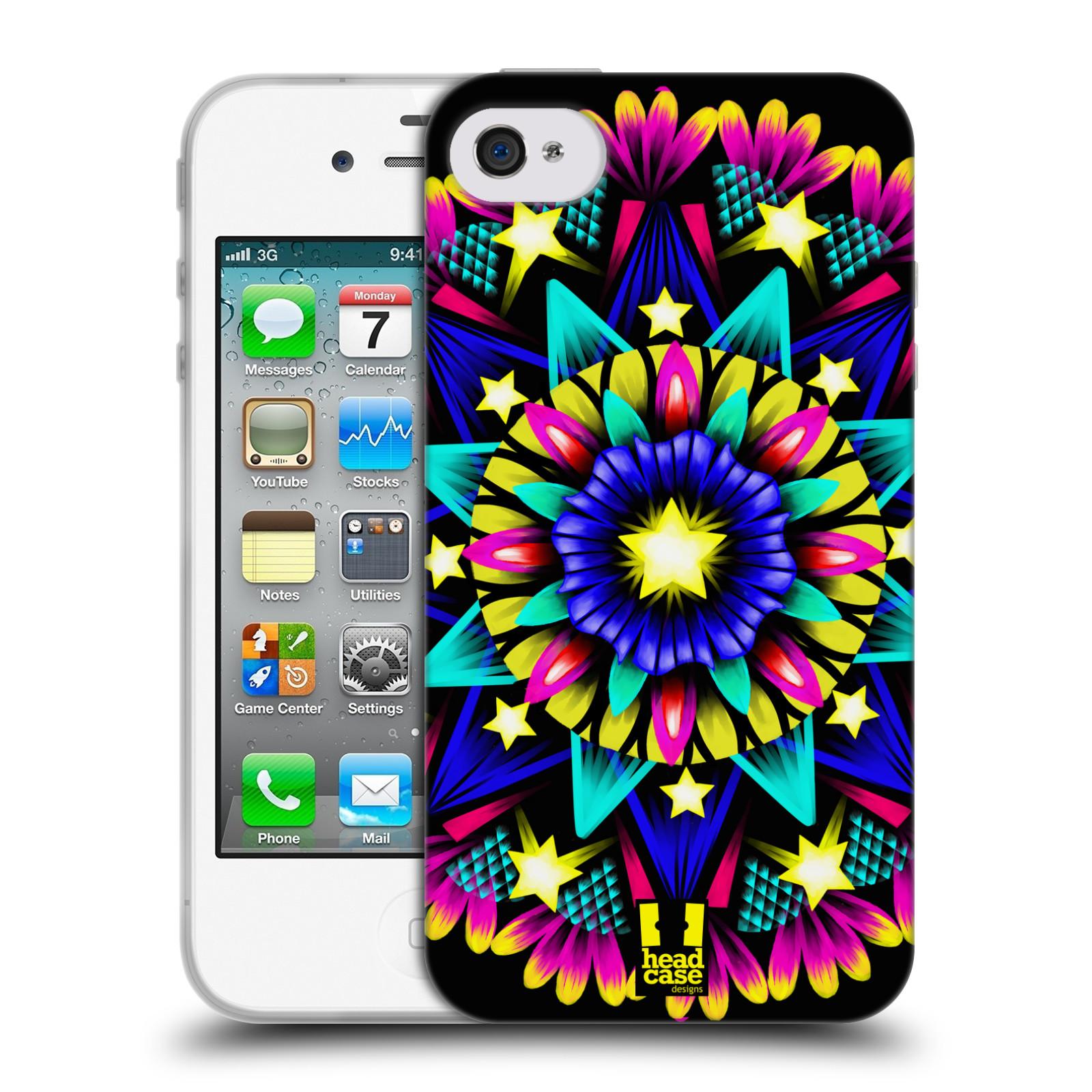 HEAD CASE silikonový obal na mobil Apple Iphone 4/4S vzor Indie Mandala kaleidoskop barevný vzor HVĚZDA