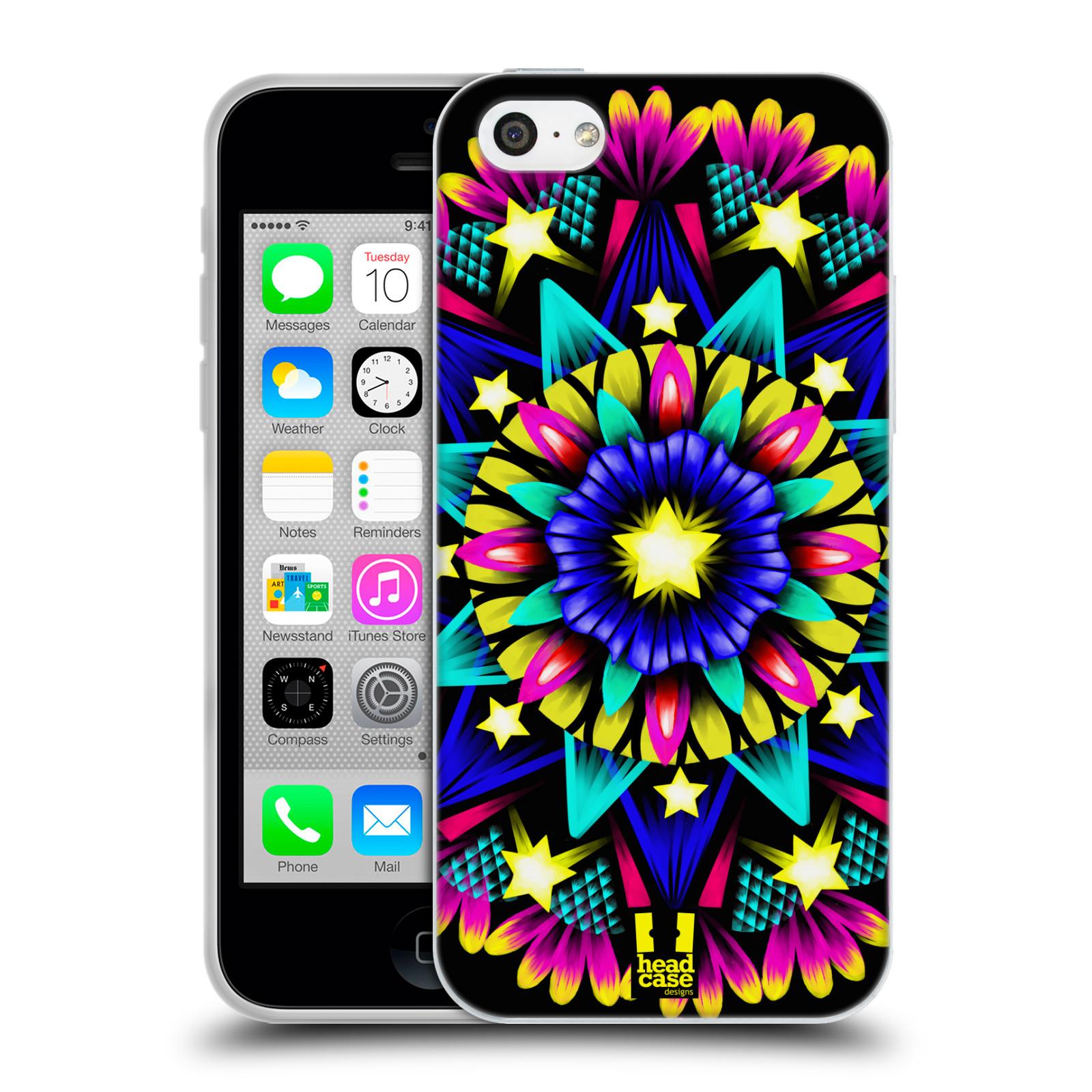 HEAD CASE silikonový obal na mobil Apple Iphone 5C vzor Indie Mandala kaleidoskop barevný vzor HVĚZDA