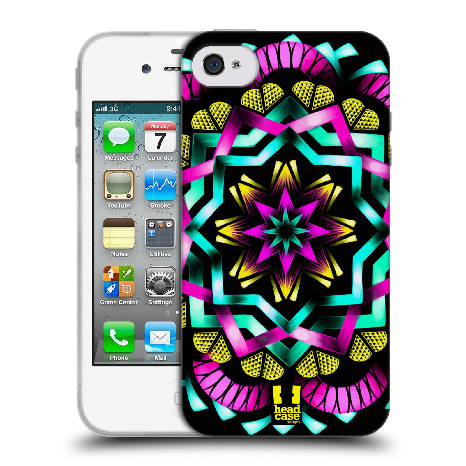 HEAD CASE silikonový obal na mobil Apple Iphone 4/4S vzor Indie Mandala kaleidoskop barevný vzor SLUNCE