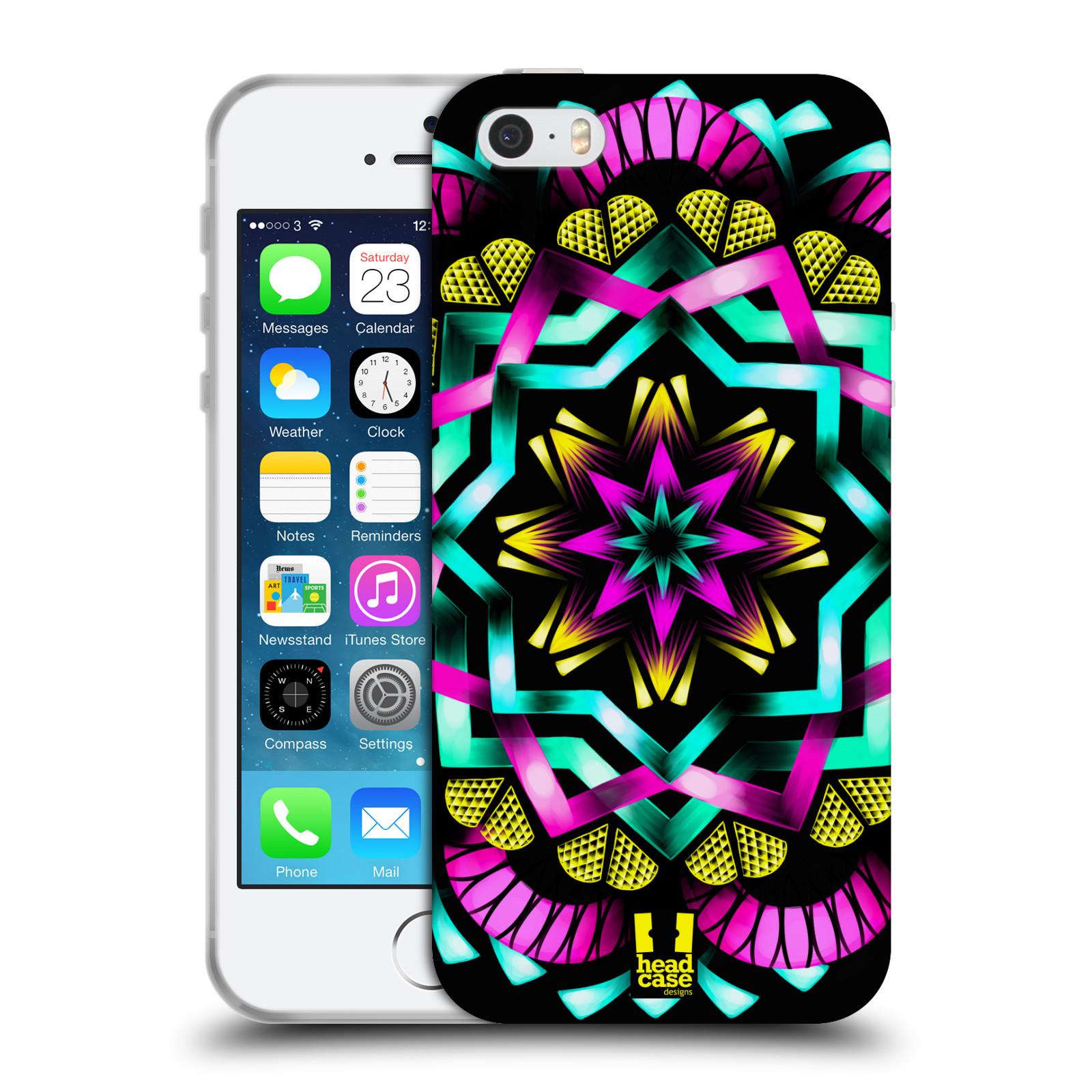 HEAD CASE silikonový obal na mobil Apple Iphone 5/5S vzor Indie Mandala kaleidoskop barevný vzor SLUNCE