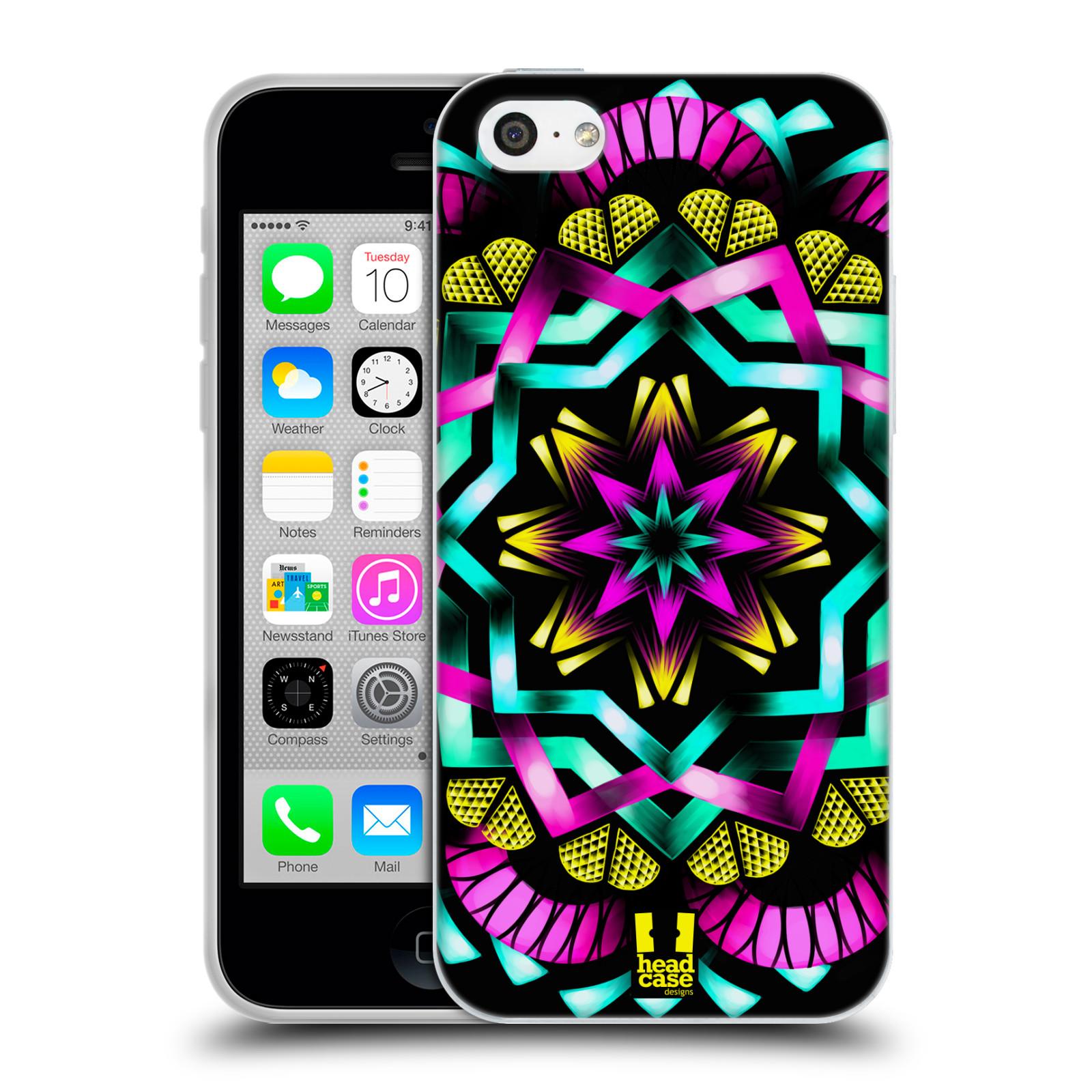 HEAD CASE silikonový obal na mobil Apple Iphone 5C vzor Indie Mandala kaleidoskop barevný vzor SLUNCE