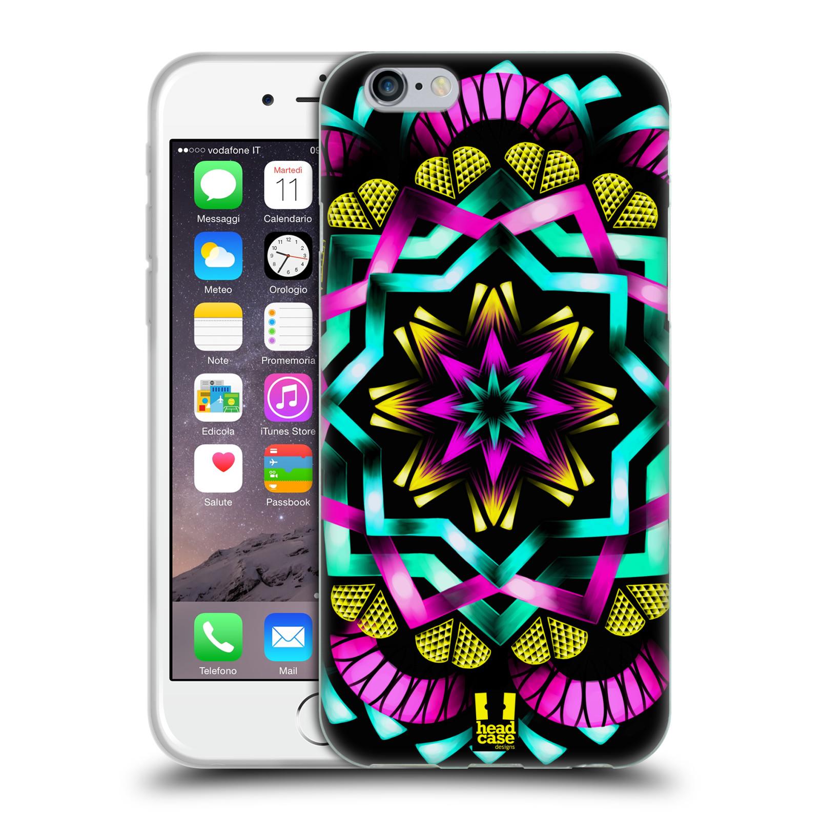 HEAD CASE silikonový obal na mobil Apple Iphone 6/6S vzor Indie Mandala kaleidoskop barevný vzor SLUNCE