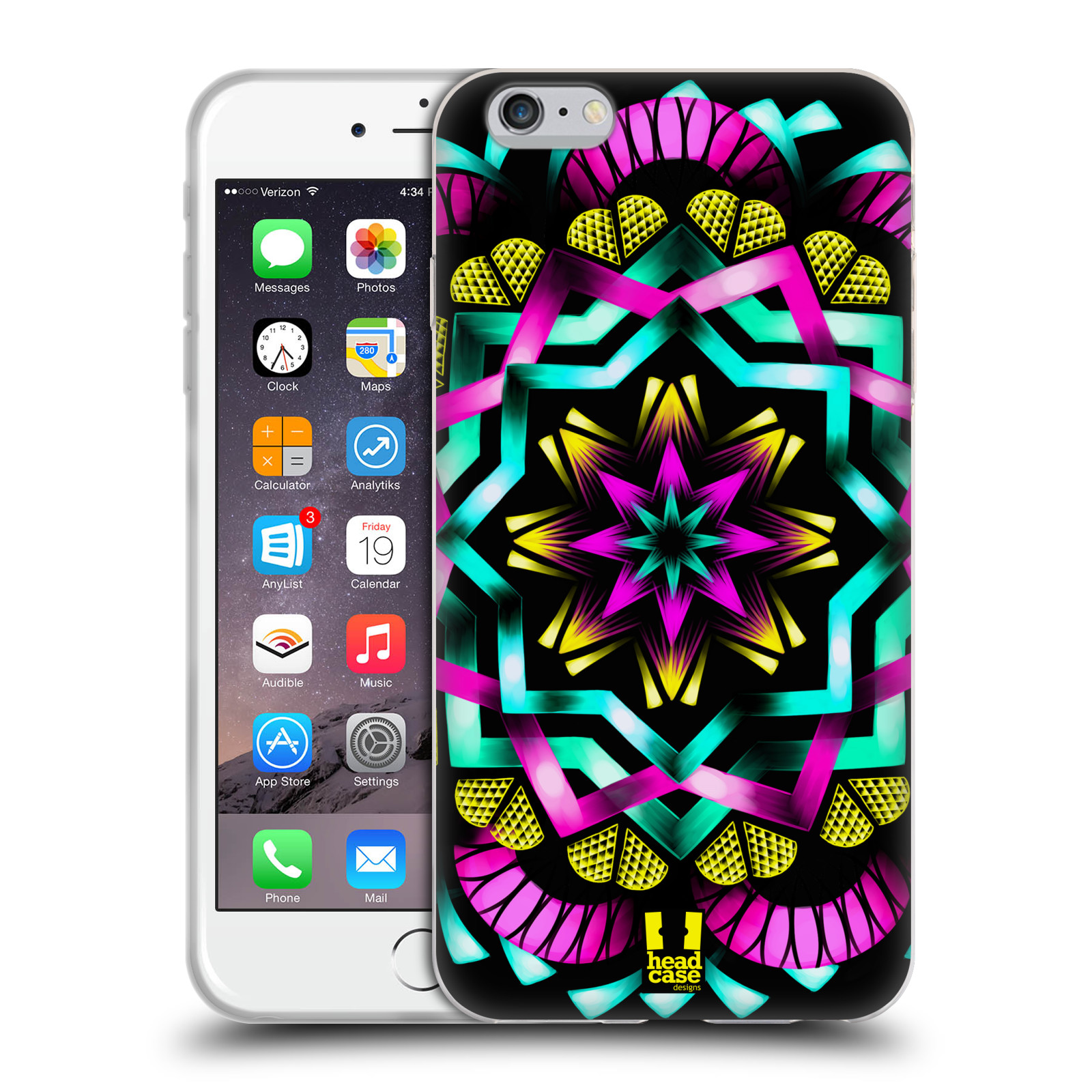 HEAD CASE silikonový obal na mobil Apple Iphone 6 PLUS/ 6S PLUS vzor Indie Mandala kaleidoskop barevný vzor SLUNCE