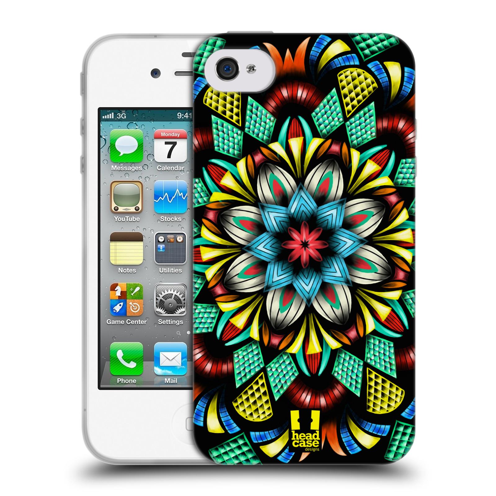 HEAD CASE silikonový obal na mobil Apple Iphone 4/4S vzor Indie Mandala kaleidoskop barevný vzor TRADIČNÍ