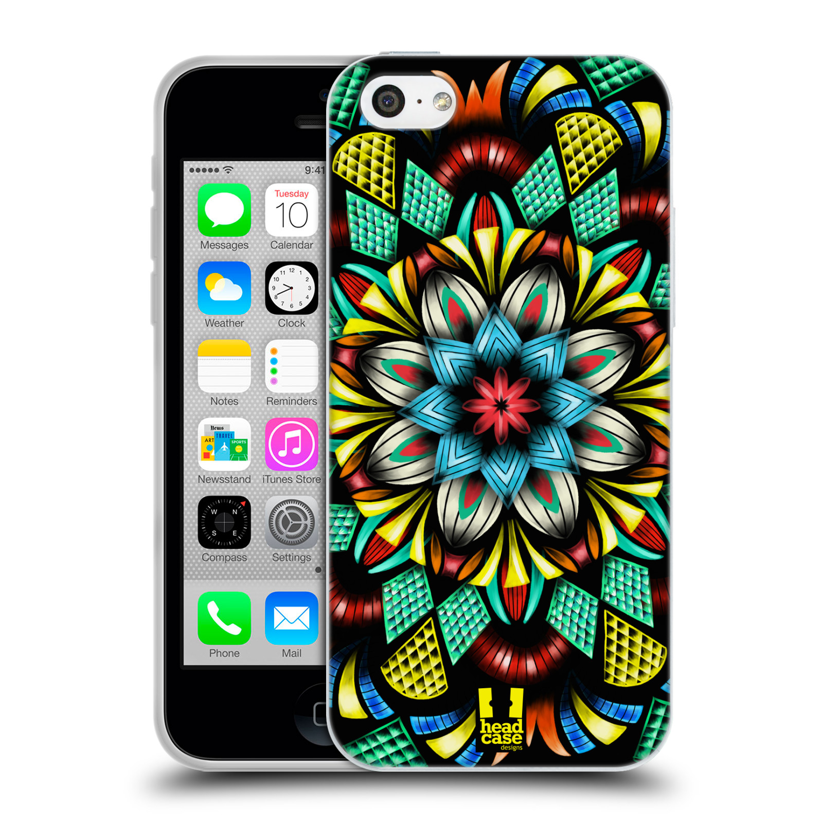 HEAD CASE silikonový obal na mobil Apple Iphone 5C vzor Indie Mandala kaleidoskop barevný vzor TRADIČNÍ