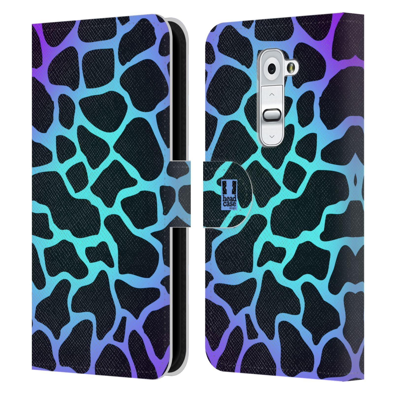 HEAD CASE Flipové pouzdro pro mobil LG G2 (D802) Zvířecí barevné vzory magická tyrkysova žirafa