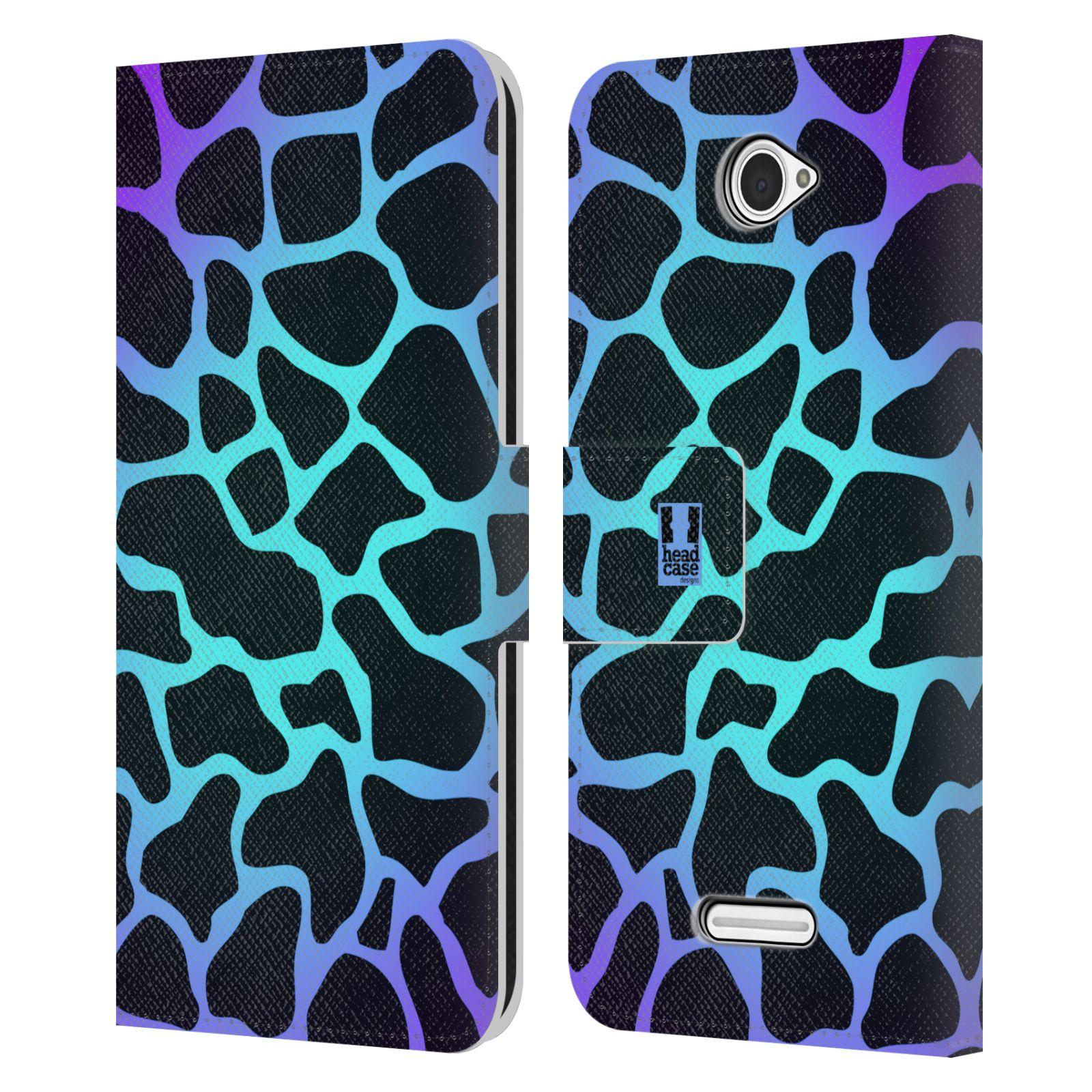 HEAD CASE Flipové pouzdro pro mobil SONY XPERIA E4 Zvířecí barevné vzory magická tyrkysova žirafa