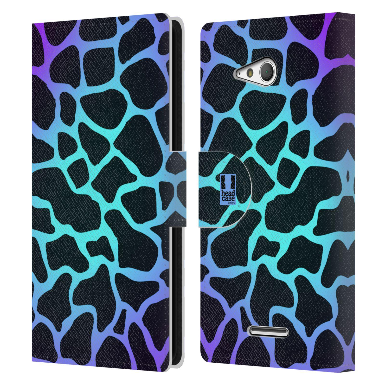 HEAD CASE Flipové pouzdro pro mobil SONY XPERIA E4g Zvířecí barevné vzory magická tyrkysova žirafa