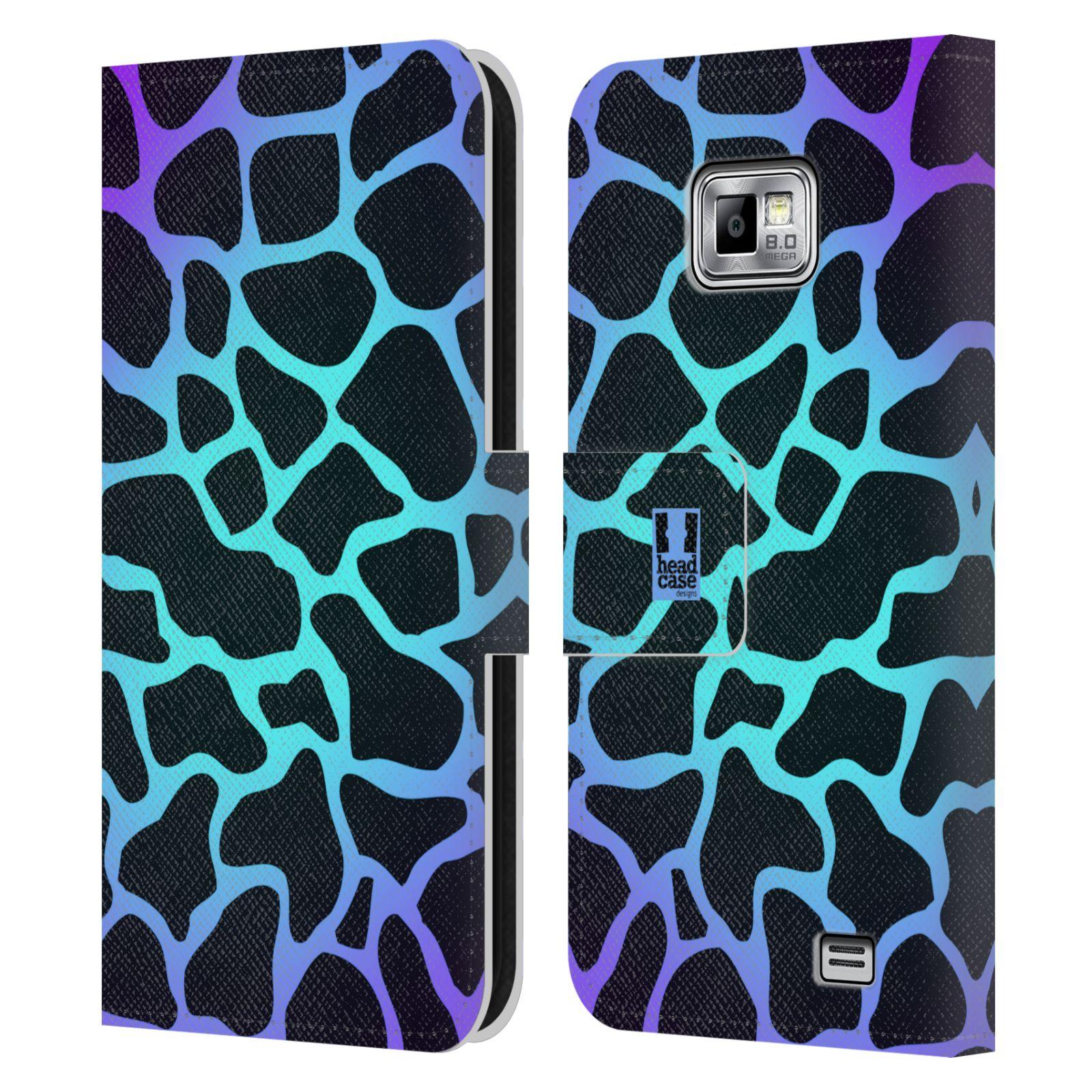 HEAD CASE Flipové pouzdro pro mobil Samsung Galaxy S2 i9100 Zvířecí barevné vzory magická tyrkysova žirafa