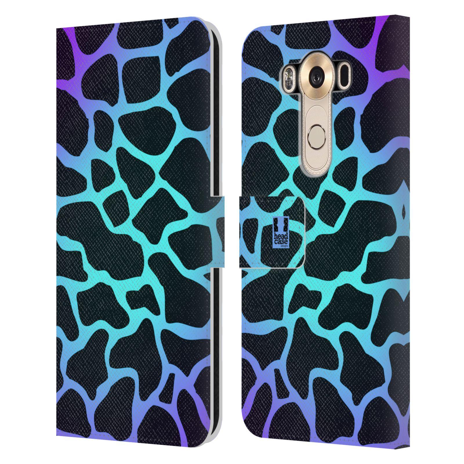 HEAD CASE Flipové pouzdro pro mobil LG V10 Zvířecí barevné vzory magická tyrkysova žirafa