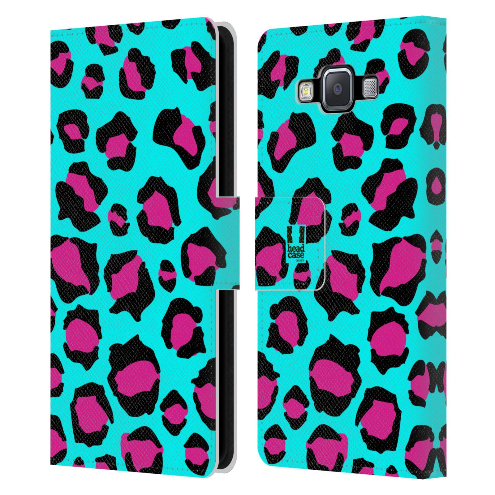 HEAD CASE Flipové pouzdro pro mobil Samsung Galaxy A5 Zvířecí barevné vzory tyrkysový leopard