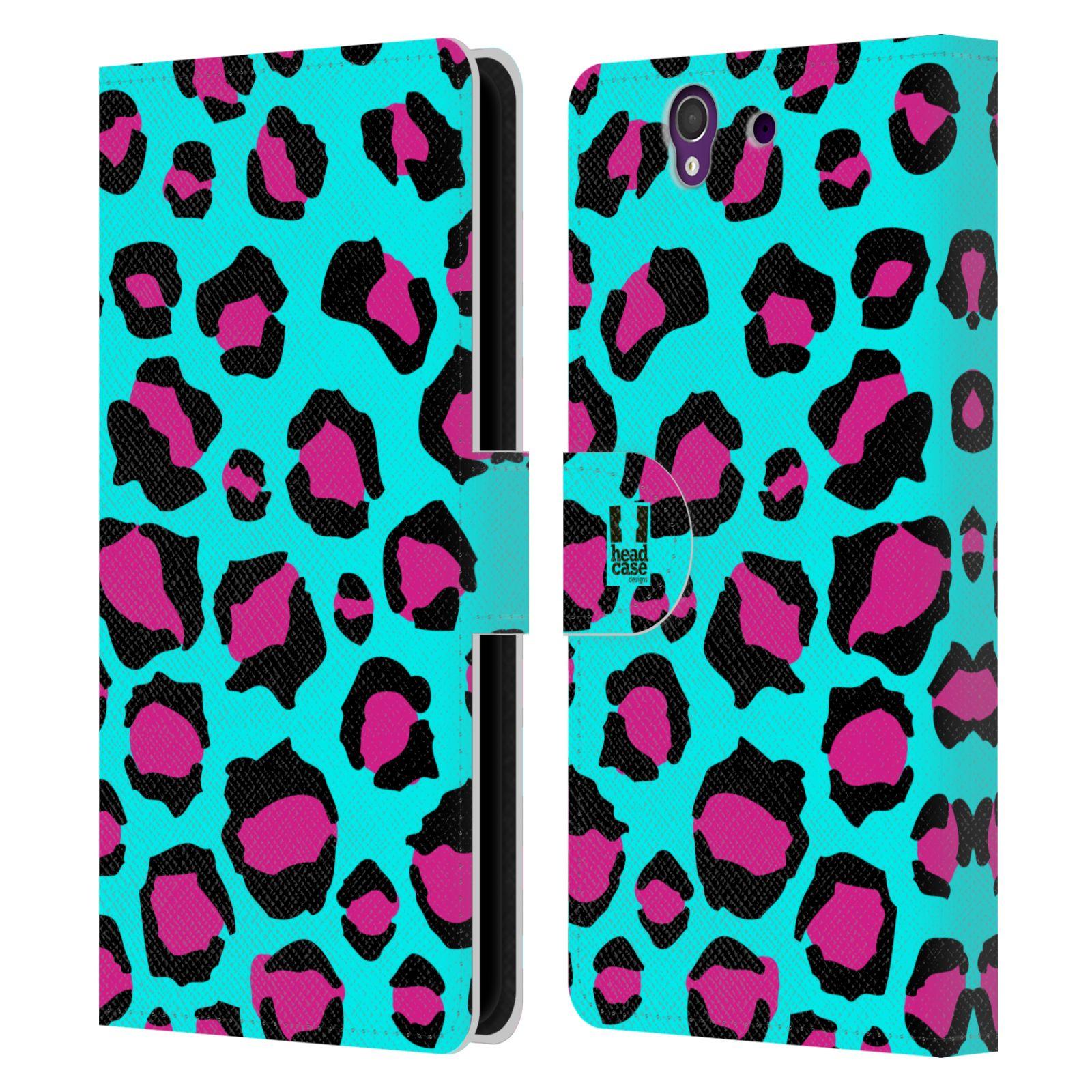 HEAD CASE Flipové pouzdro pro mobil SONY XPERIA Z (C6603) Zvířecí barevné vzory tyrkysový leopard
