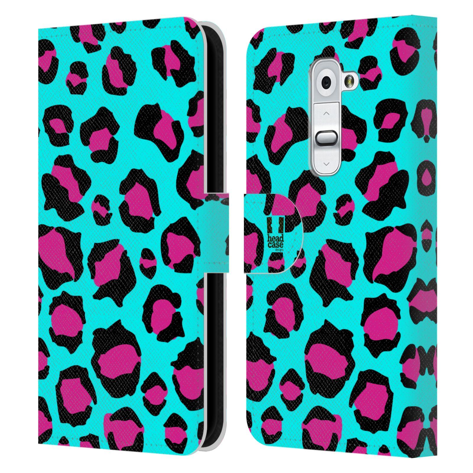 HEAD CASE Flipové pouzdro pro mobil LG G2 (D802) Zvířecí barevné vzory tyrkysový leopard