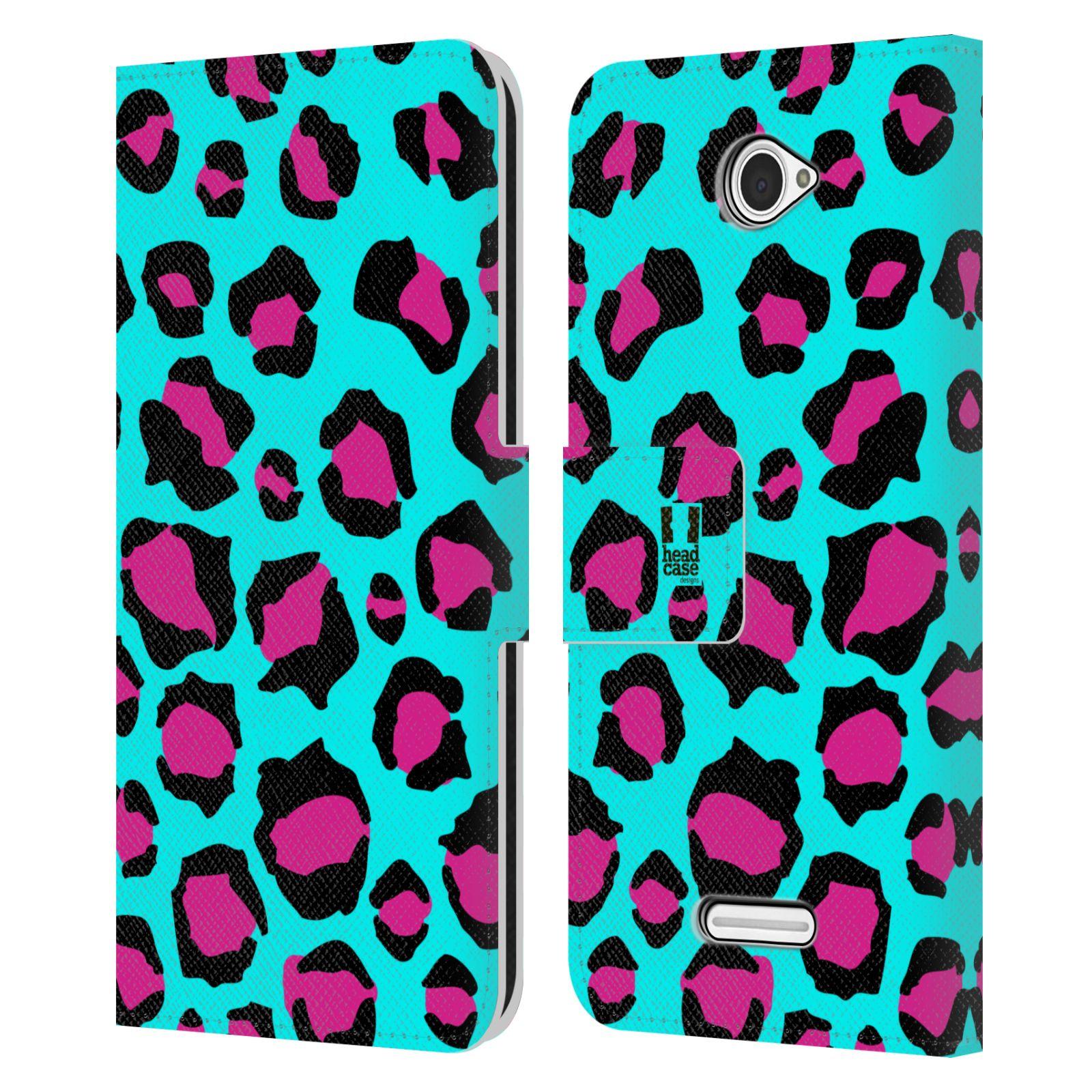 HEAD CASE Flipové pouzdro pro mobil SONY XPERIA E4 Zvířecí barevné vzory tyrkysový leopard