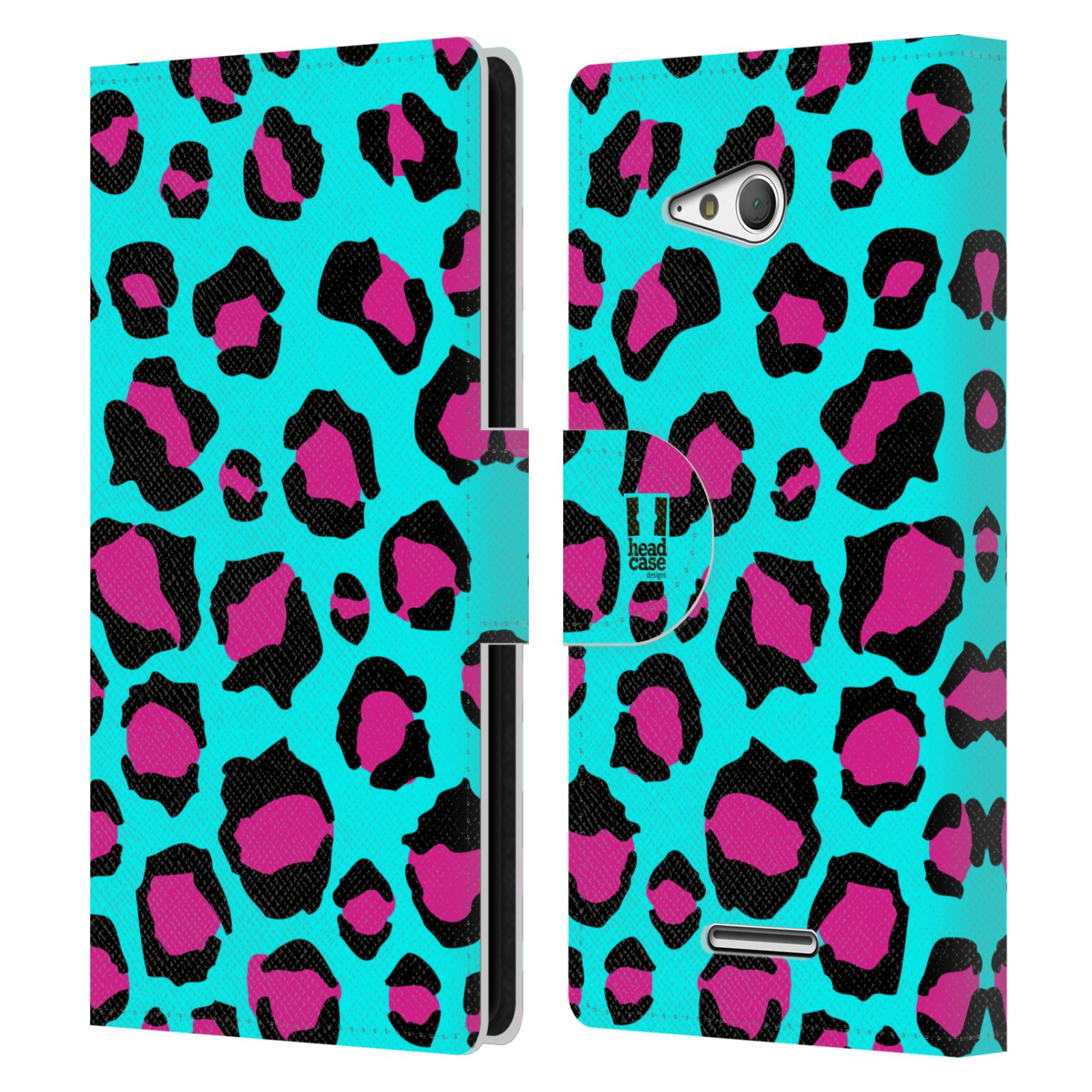 HEAD CASE Flipové pouzdro pro mobil SONY XPERIA E4g Zvířecí barevné vzory tyrkysový leopard