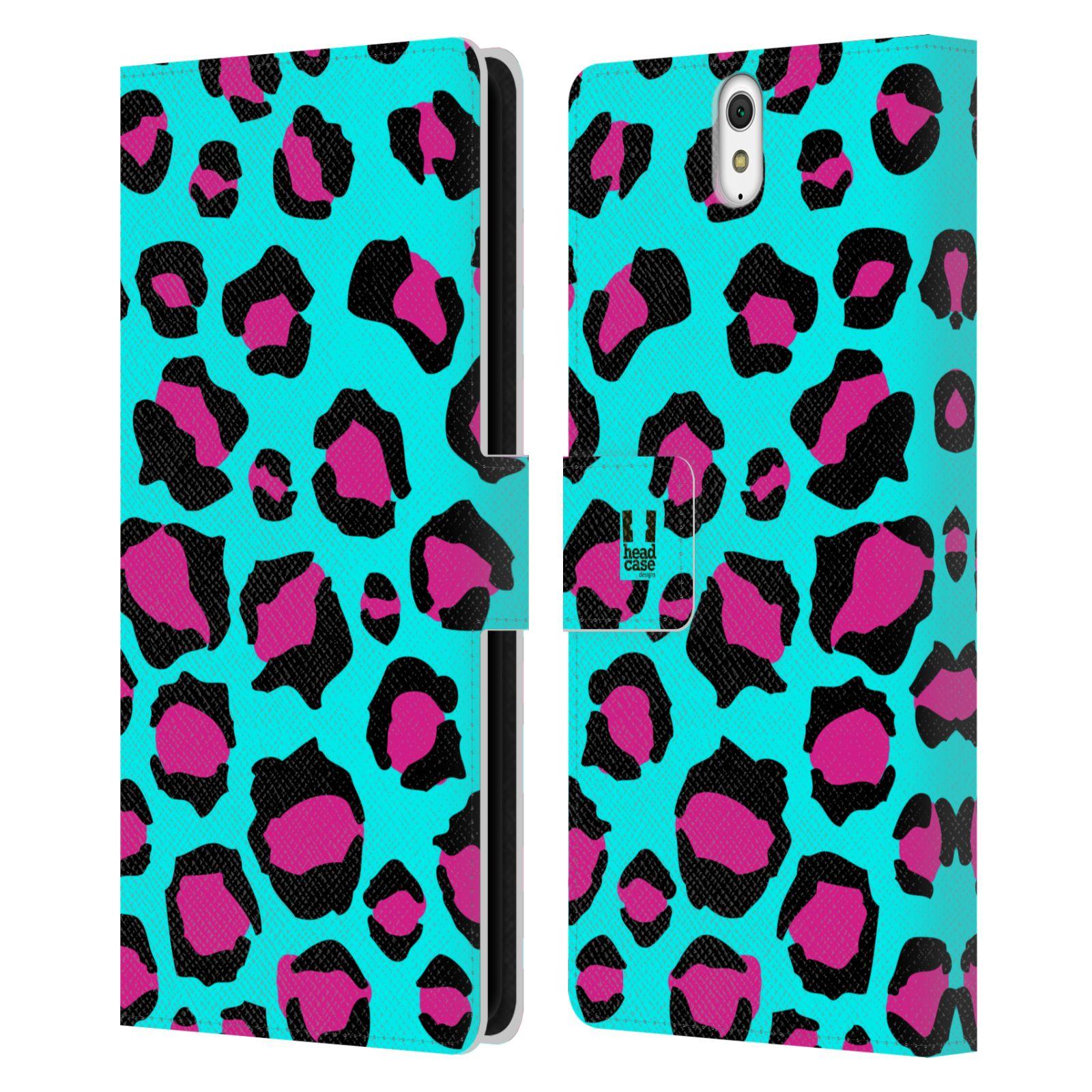 HEAD CASE Flipové pouzdro pro mobil SONY XPERIA C5 Ultra Zvířecí barevné vzory tyrkysový leopard